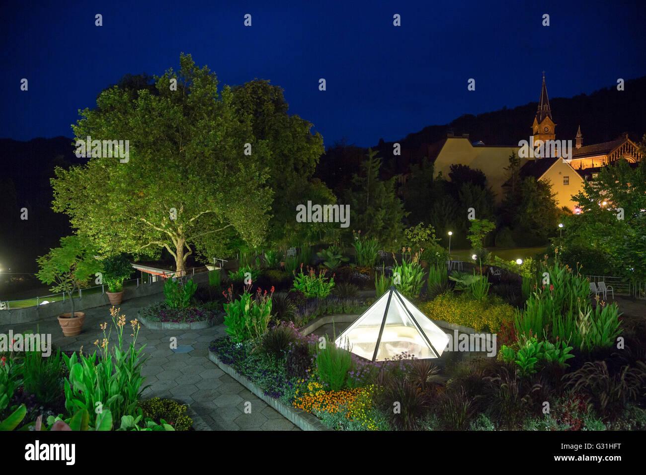 Badenweiler, Germany, illuminated spa and Castle Park Badenweiler Stock Photo