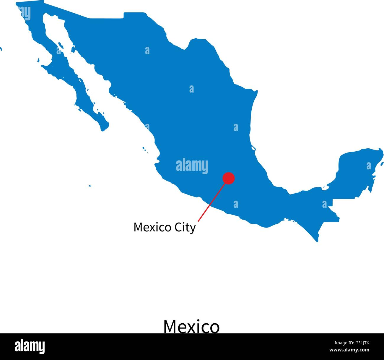 Capital Of Mexico Map Detailed vector map of Mexico and capital city Stock Vector Image