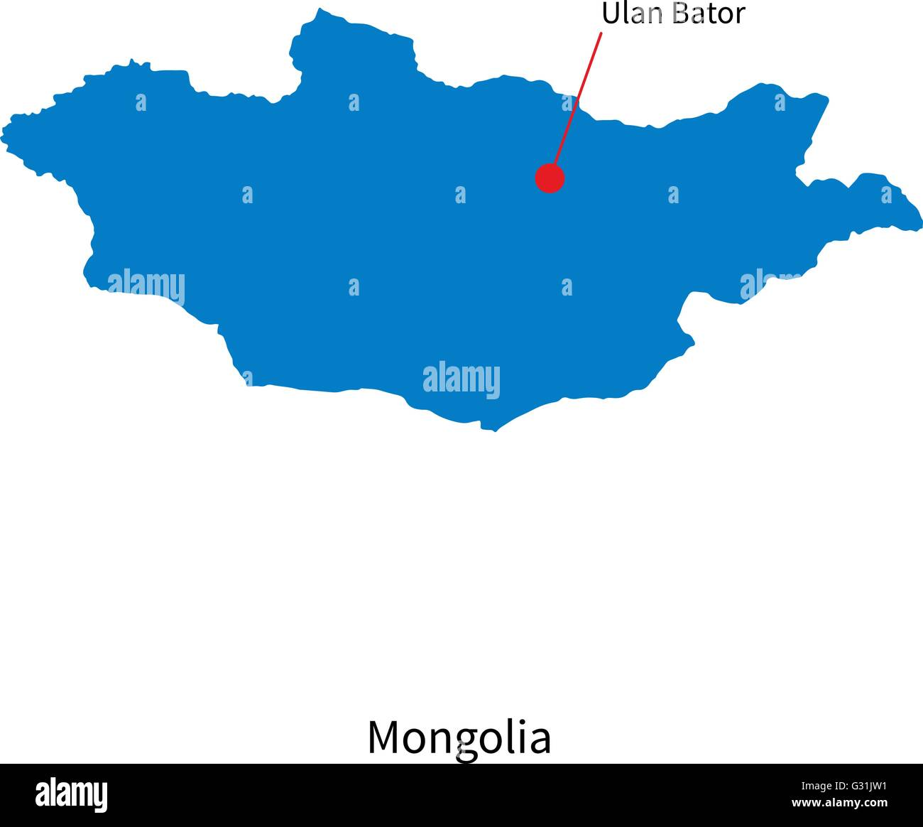 Detailed vector map of Mongolia and capital city Ulan Bator - Stock Vector