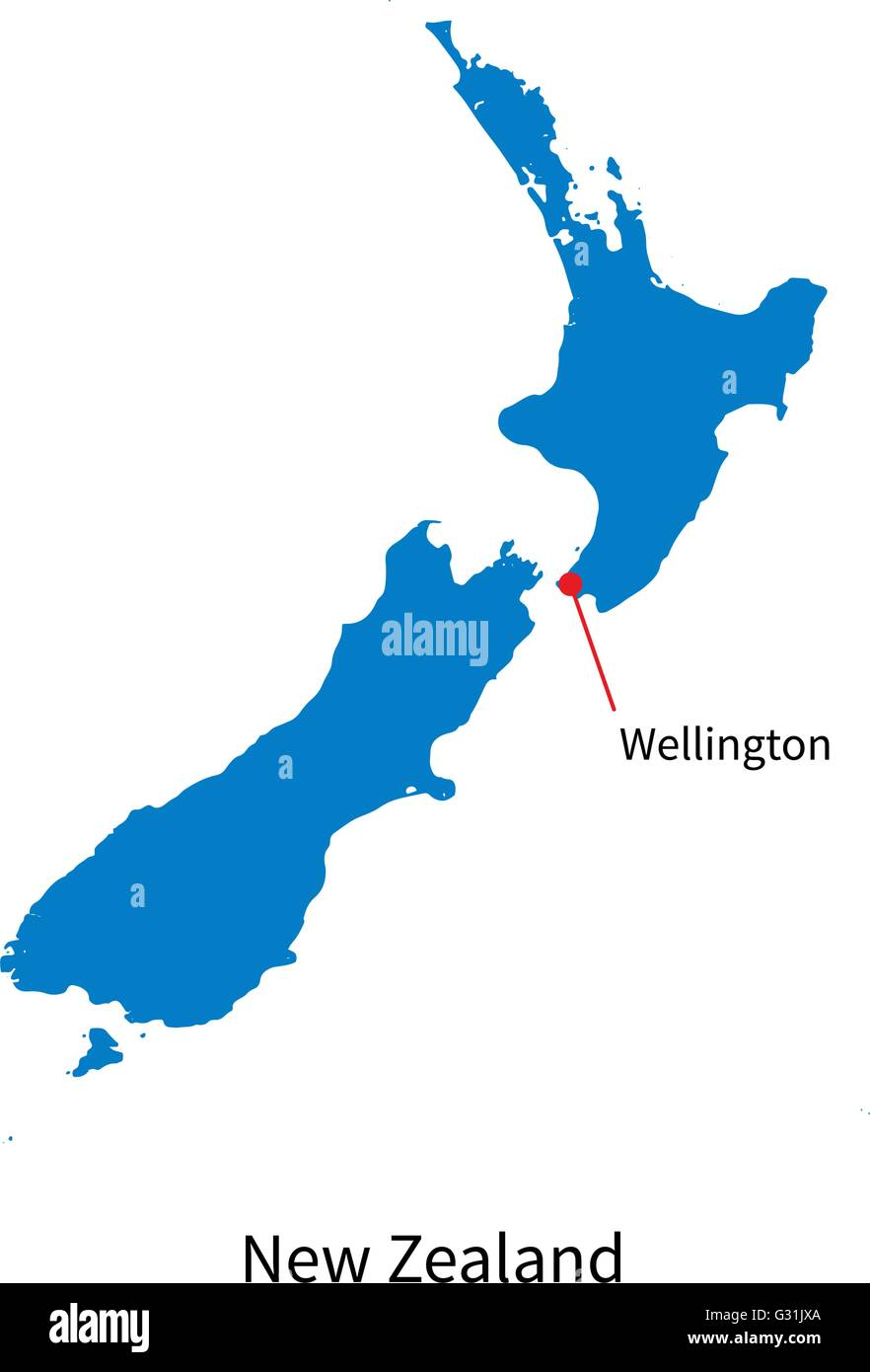 Where Is Wellington New Zealand On The Map.Detailed Vector Map Of New Zealand And Capital City Wellington Stock