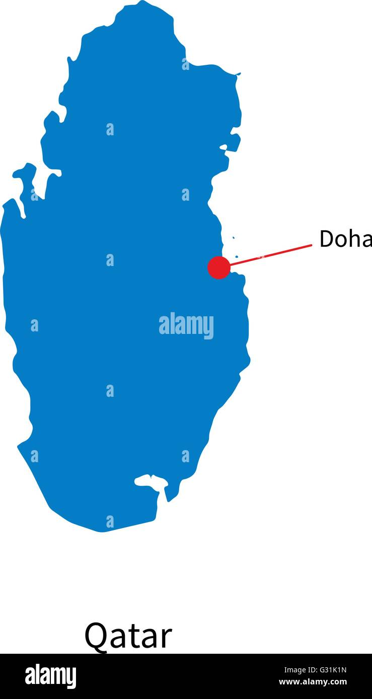 Detailed vector map of Qatar and capital city Doha Stock ...