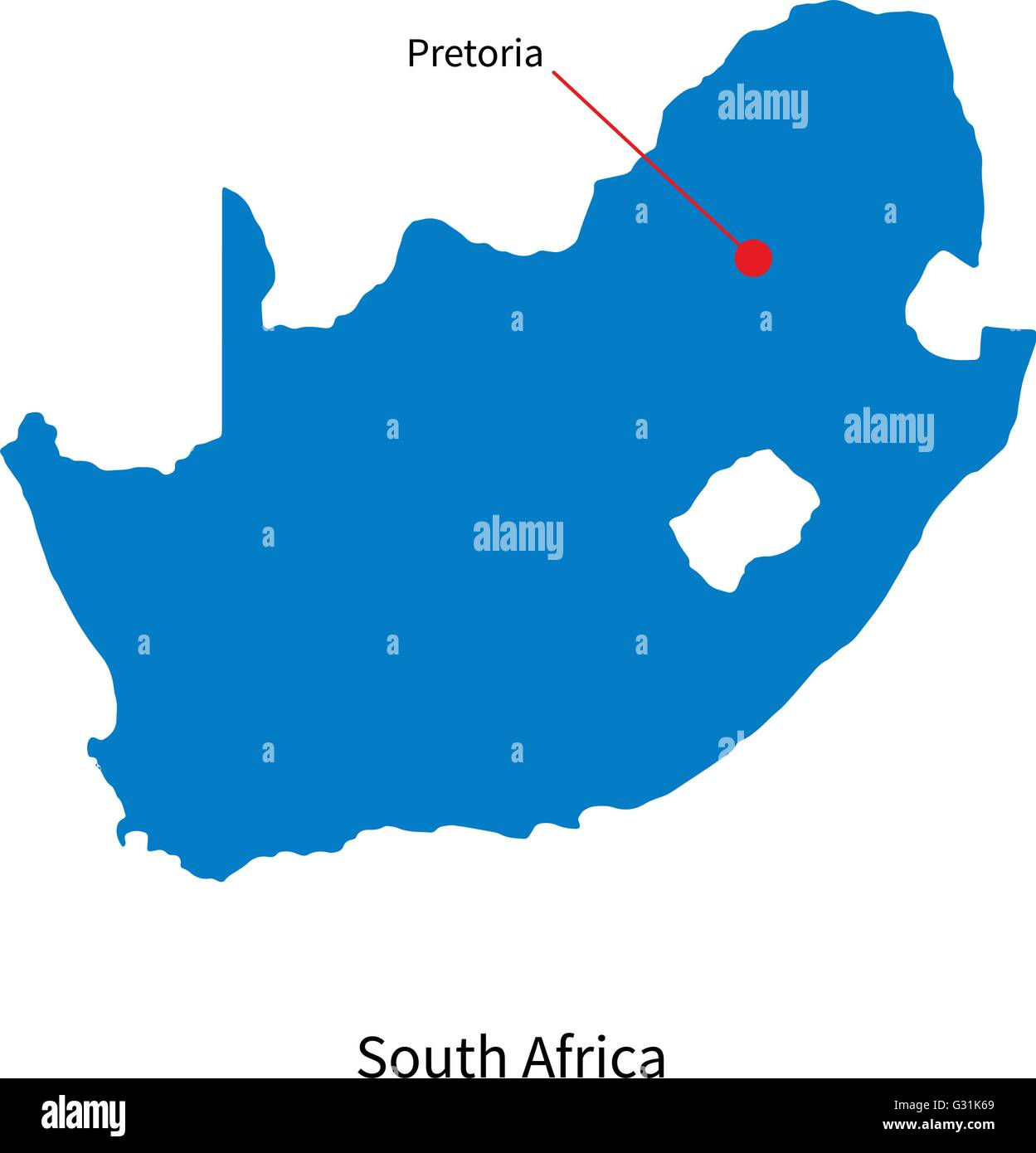 Detailed vector map of South Africa and capital city Pretoria