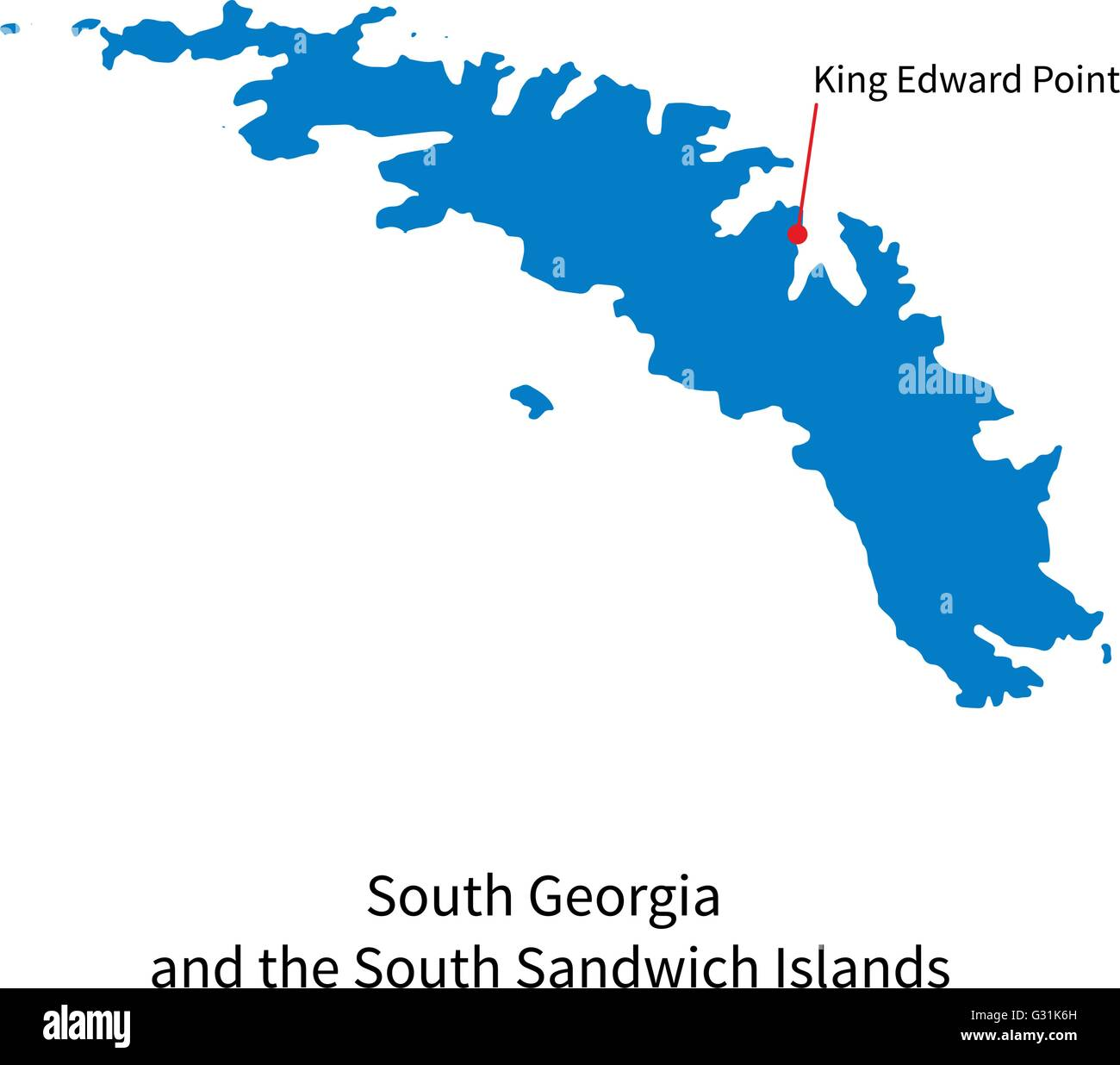 Map of South Georgia and Sandwich Islands with capital city Stock ...