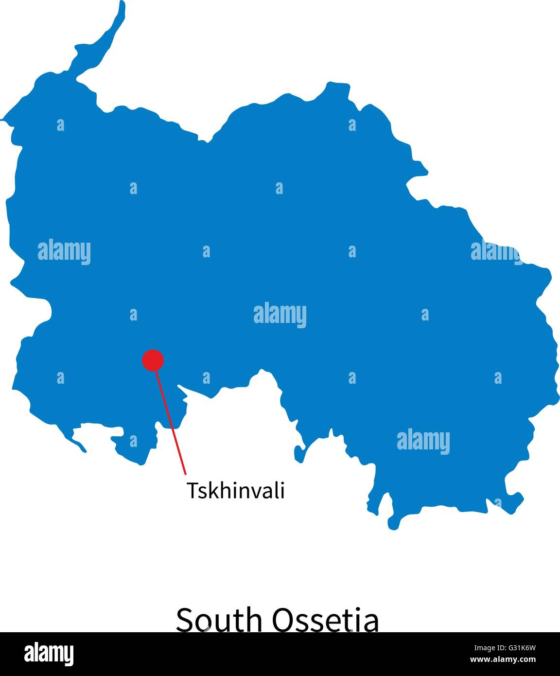Detailed vector map of South Ossetia and capital city Tskhinvali - Stock Image