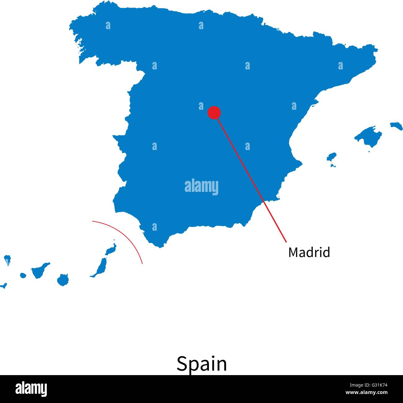 Detailed vector map of Spain and capital city Madrid Stock Vector