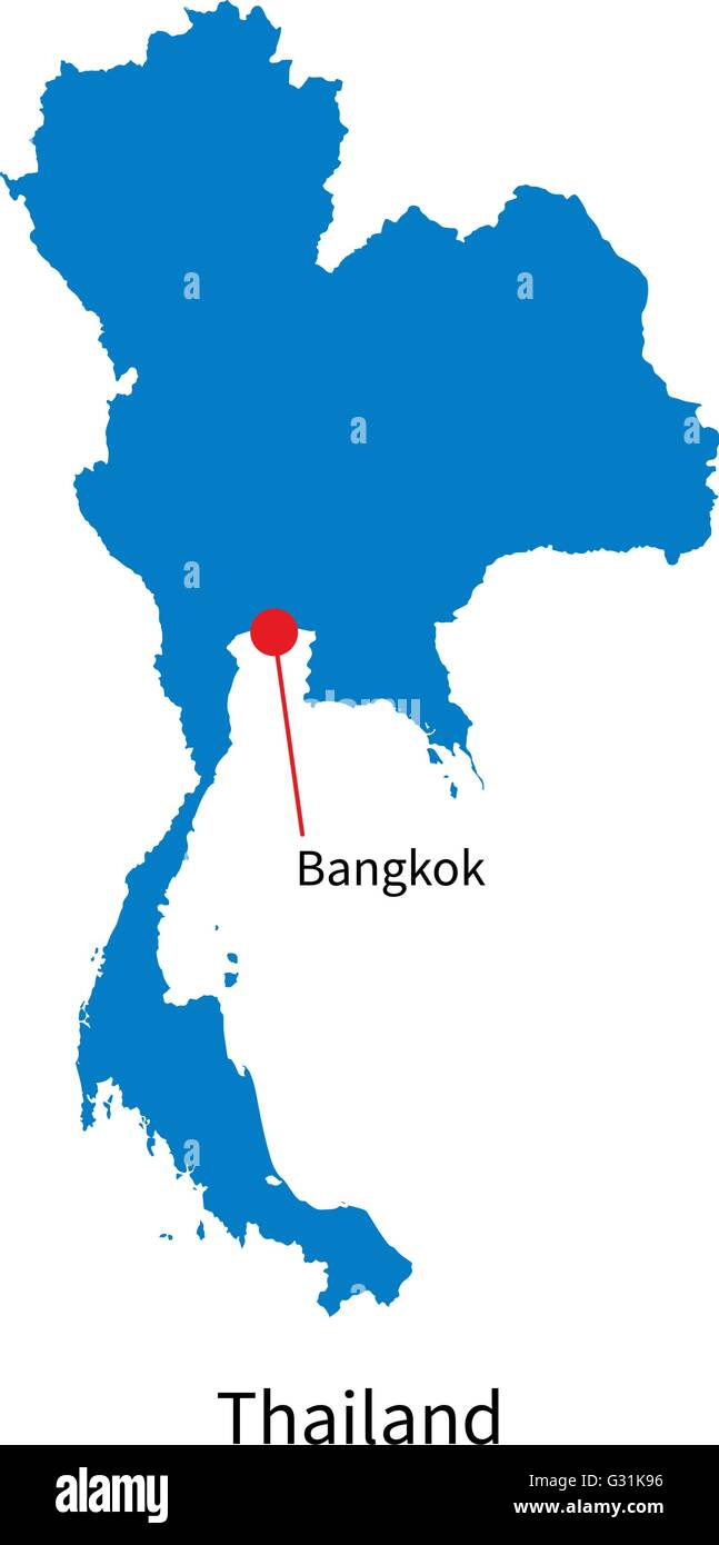 Detailed vector map of Thailand and capital city Bangkok Stock