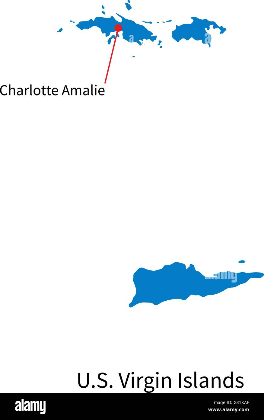 Vector map of U.S. Virgin Islands and capital city Stock Vector Art ...