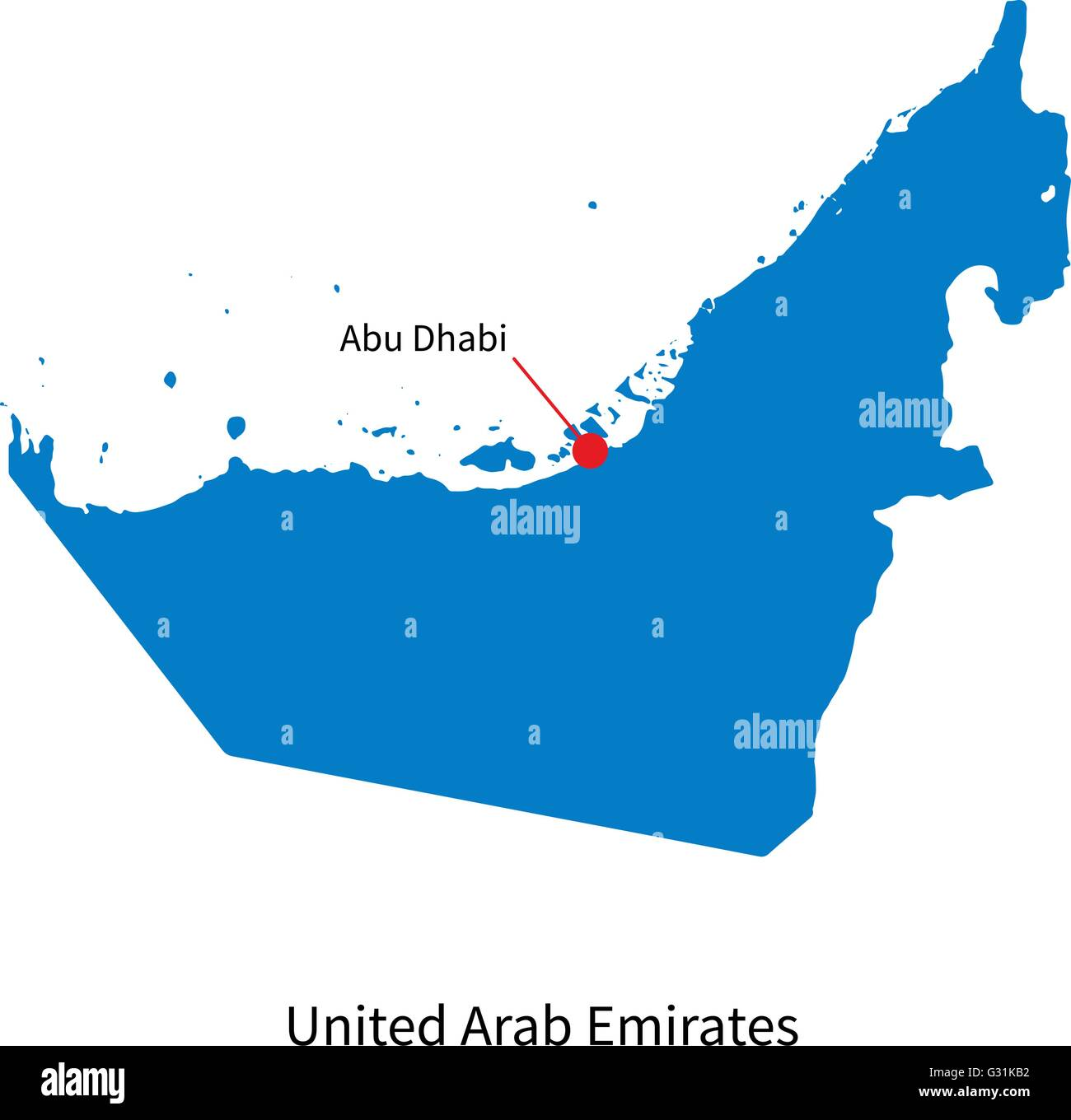 detailed vector map of united arab emirates and capital city