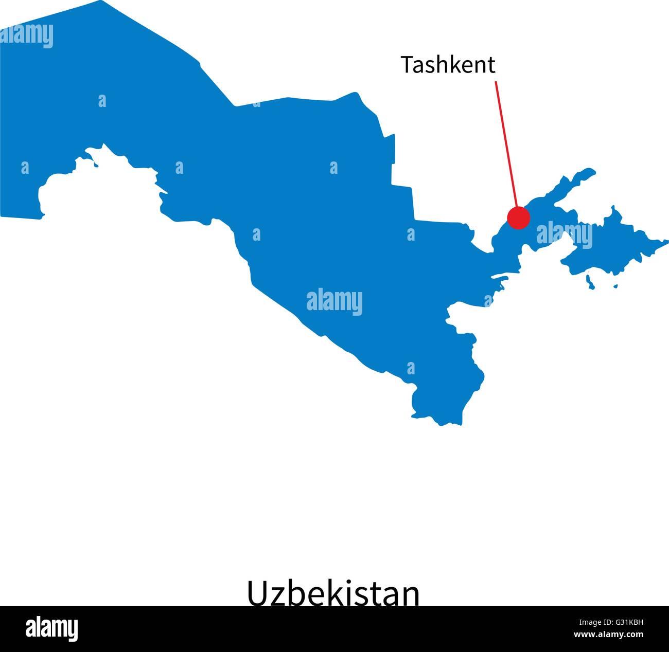 Detailed vector map of Uzbekistan and capital city Tashkent ...