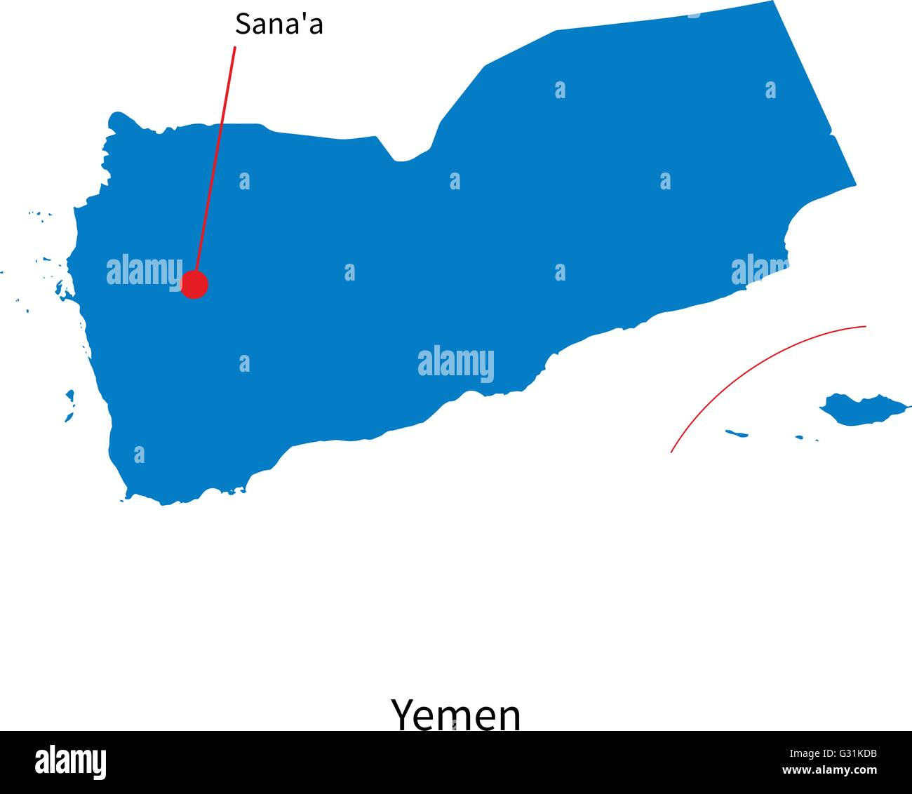 Detailed vector map of Yemen and capital city Sana'a - Stock Vector