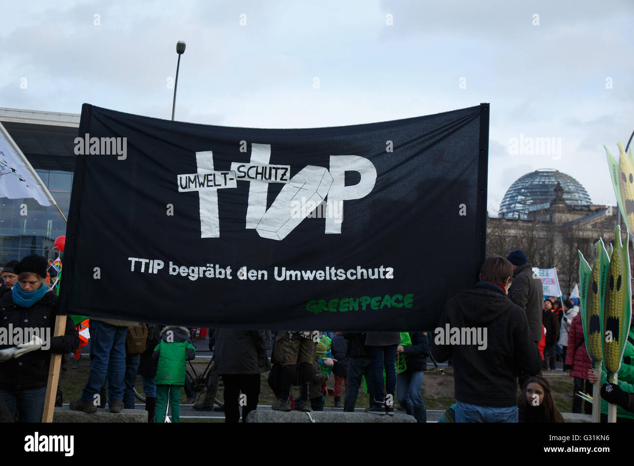 Berlin, Germany, We are fed up demo Stock Photo
