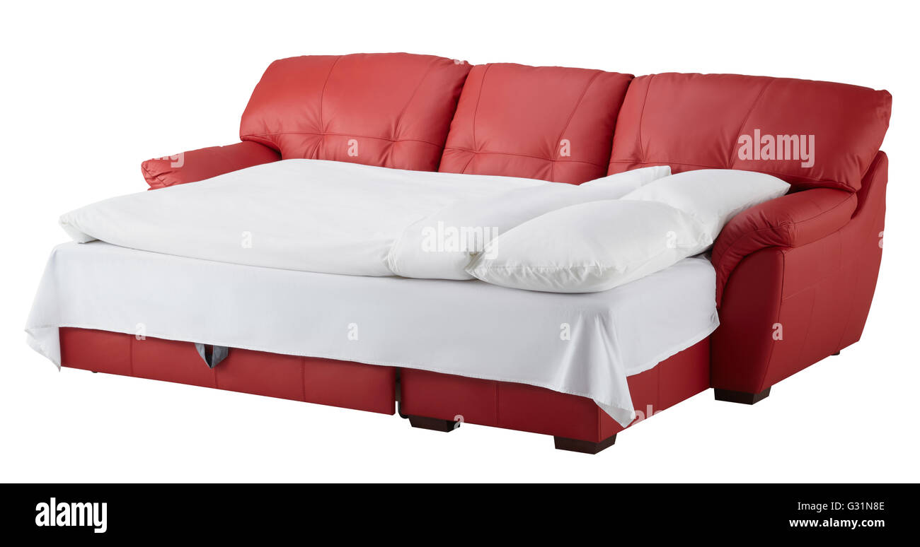 - Red Leather Corner Couch Bed Isolated On White Include Clipping