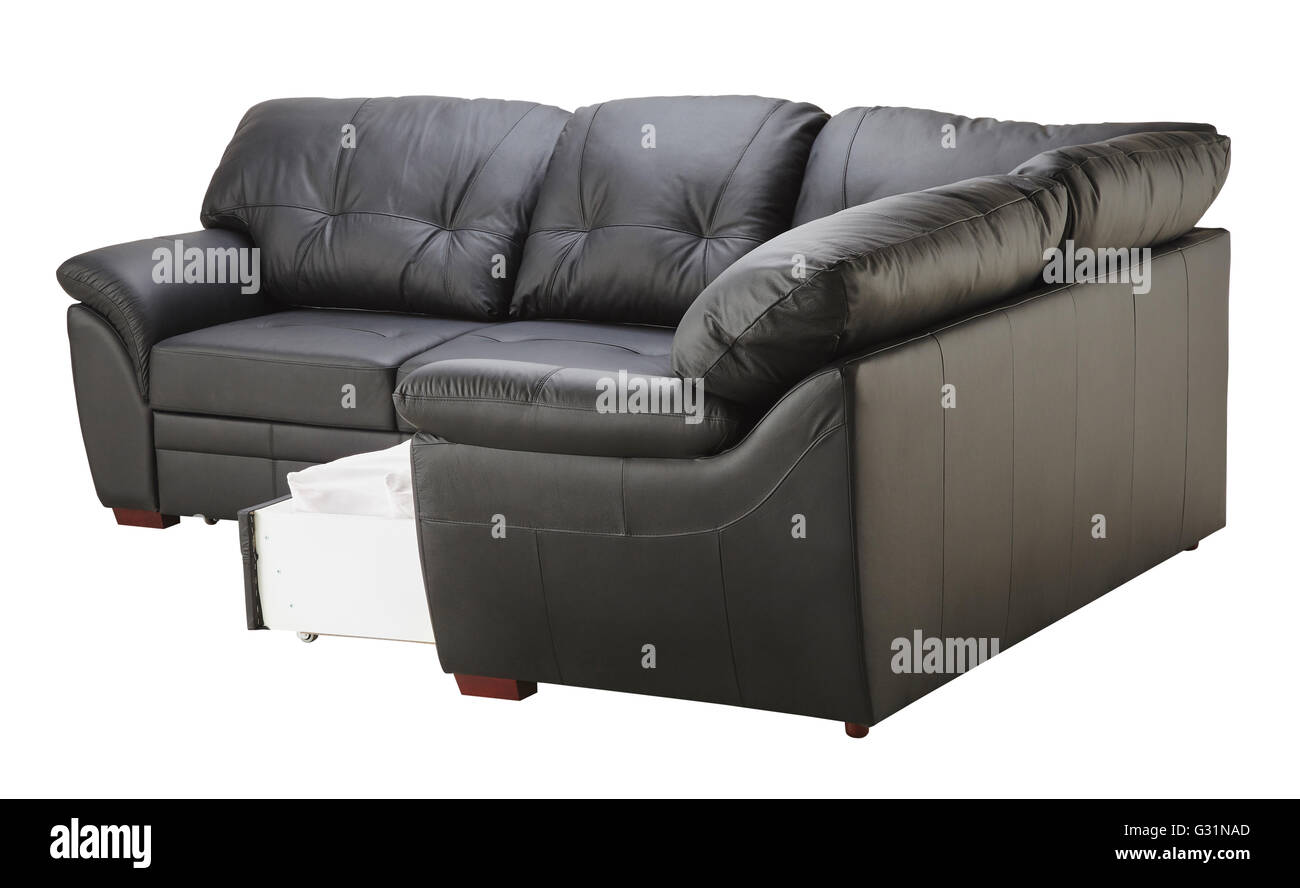 Black Brown Leather Corner Couch Bed With Storage Isolated On White