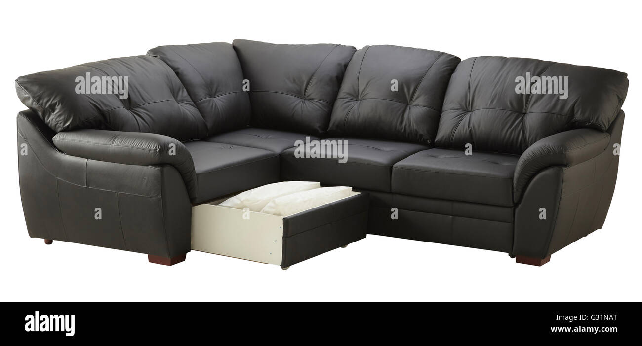Black brown leather corner couch bed with storage isolated on white ...
