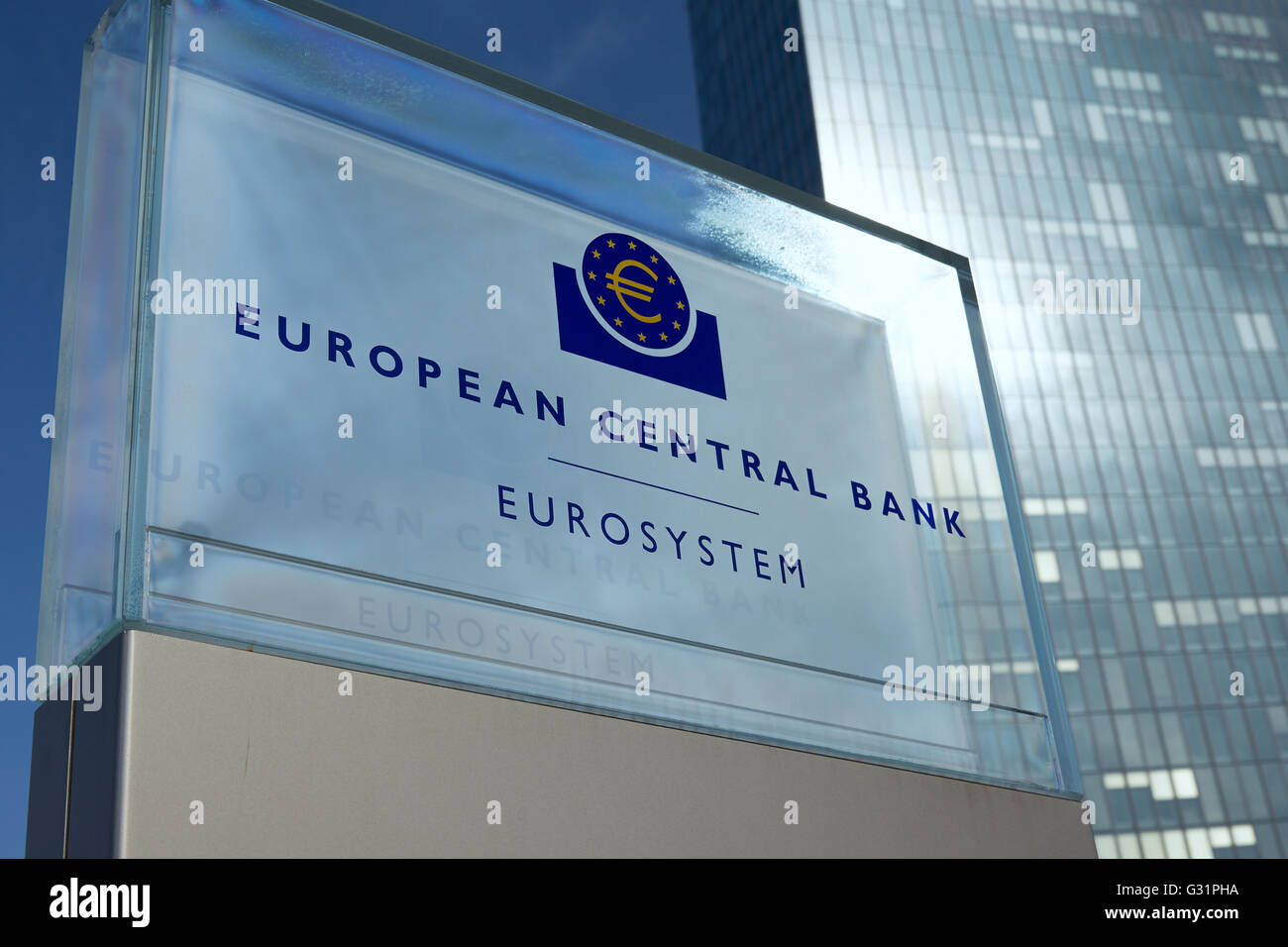 Frankfurt, Germany, the sign of the glass construction of the European Central Bank - Stock Image
