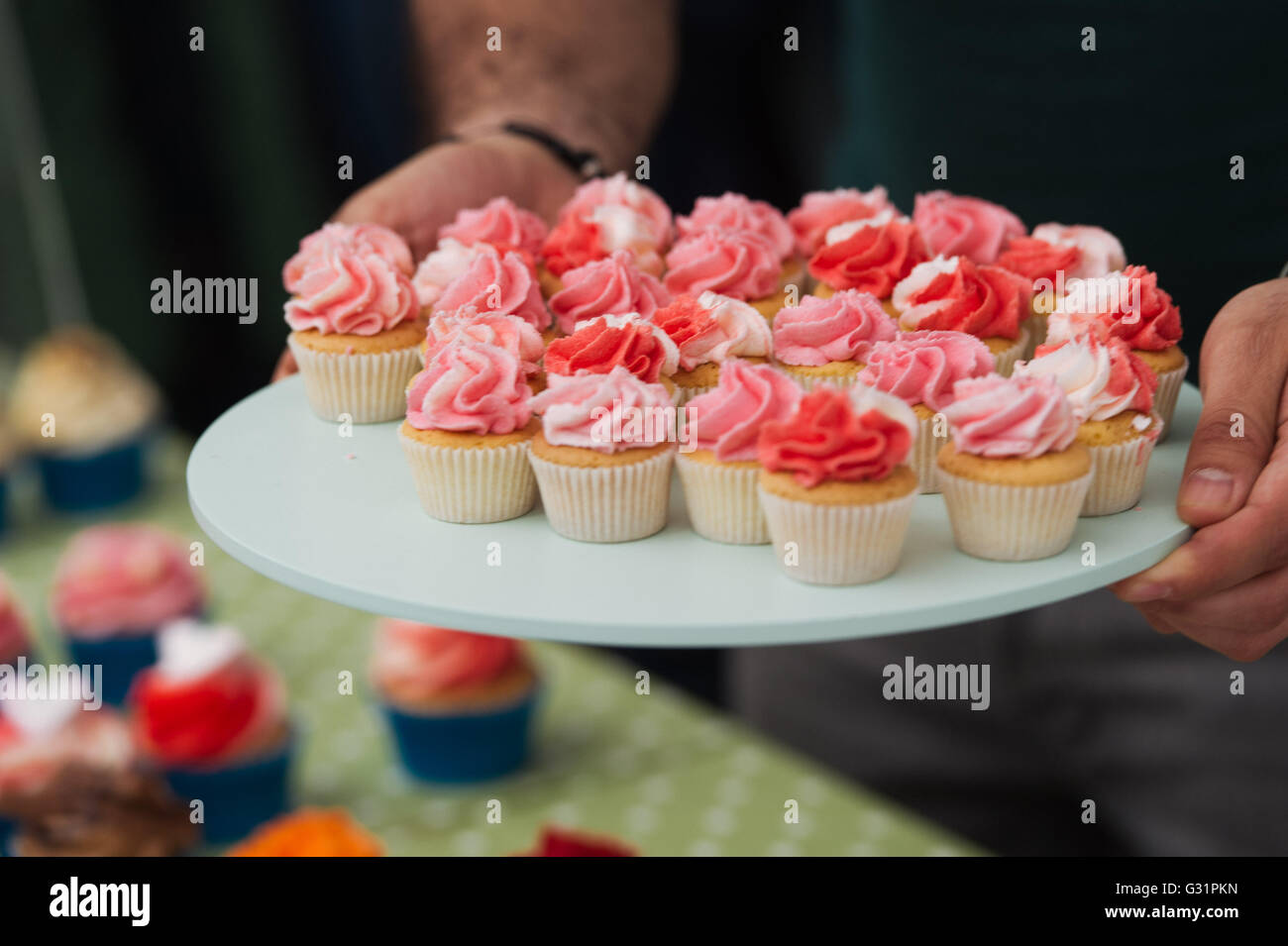 Cupcake for sale at a vintage fayre - Stock Image
