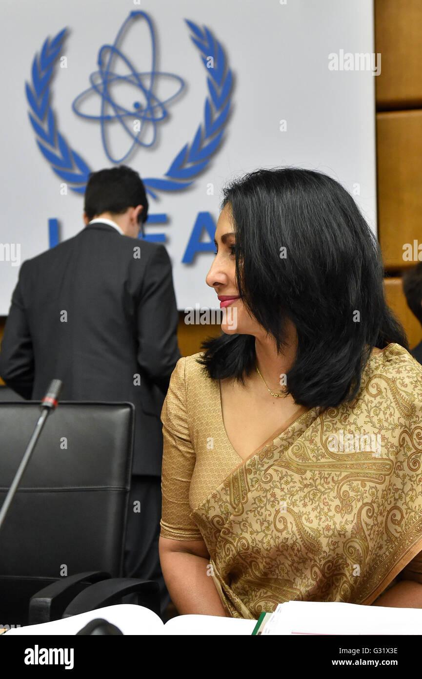 Vienna, Austria. 6th June, 2016. Aruni Wijewardane, IAEA Secretary Policy Making Organs, attends an IAEA board of Stock Photo
