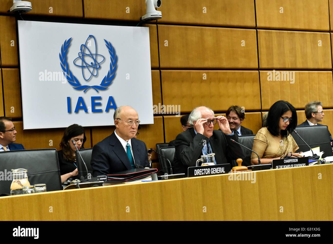 Vienna, Austria. 6th June, 2016. International Atomic Energy Agency's (IAEA) Director-General Yukiya Amano, Brazil's Stock Photo