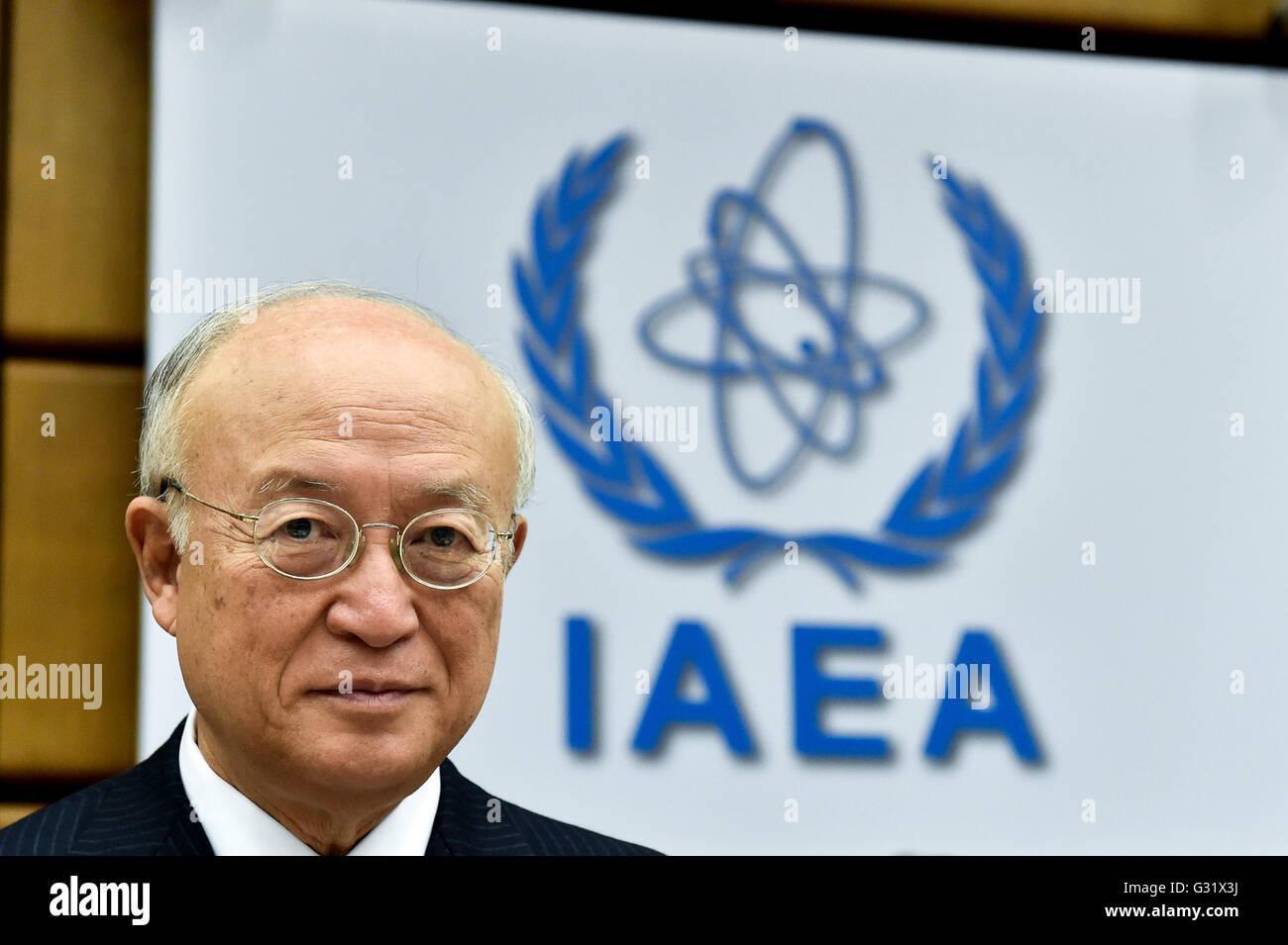 Vienna, Austria. 6th June, 2016. International Atomic Energy Agency's (IAEA) Director-General Yukiya Amano attends Stock Photo