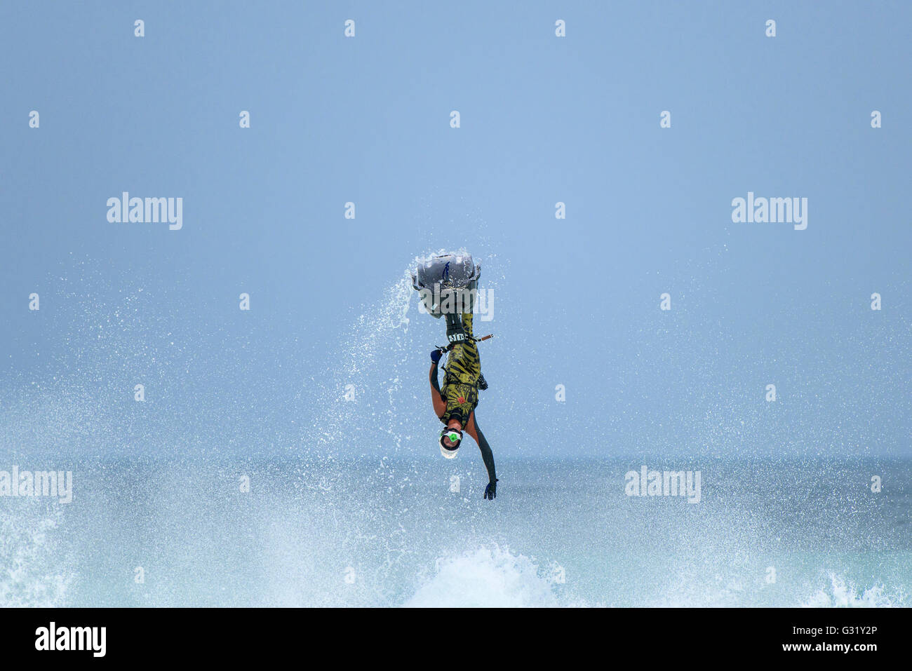 Fistral, Newquay, Cornwall. 6th June, 2016.  Dan Foy performs a spectacular stunt on his Jet-ski at the IFWA World - Stock Image