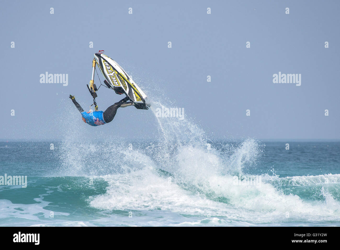 Fistral, Newquay, Cornwall. 6th June, 2016.  A spectacular stunt performed by a Jet-skier at the IFWA World Freeride - Stock Image