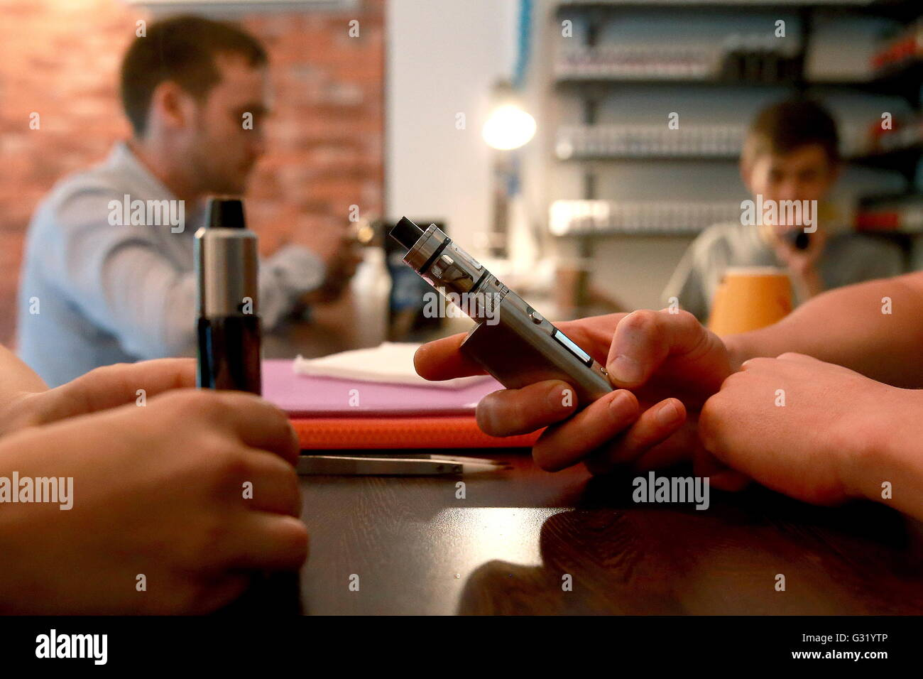 MOSCOW, RUSSIA - JUNE 3, 2016: An e-cigarette box mod at the VapeTeamShop in Moscow. Sergei Fadeichev/TASS - Stock Image