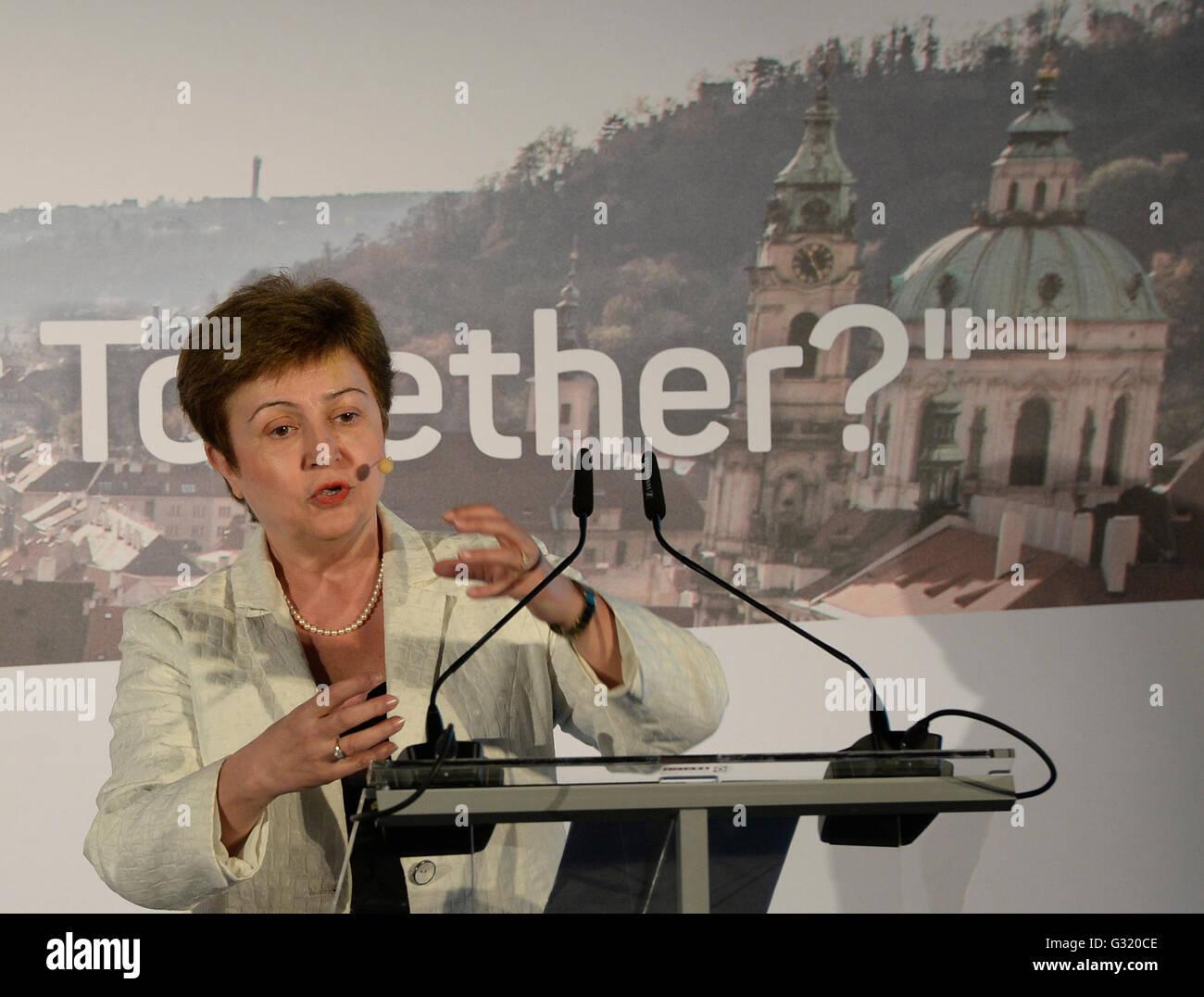 Prague, Czech Republic. 06th June, 2016. EC Vice-President Kristalina Georgieva said she shares view that the negative Stock Photo
