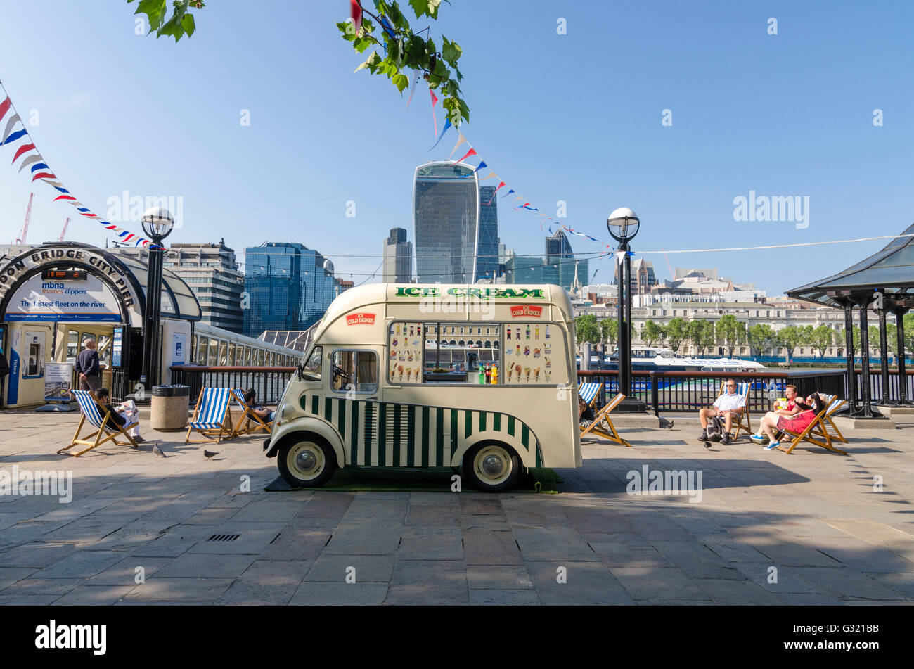 London, UK. 06th June, 2016. People enjoy the hot weather with an ice cream on the south bank in London. Credit: - Stock Image