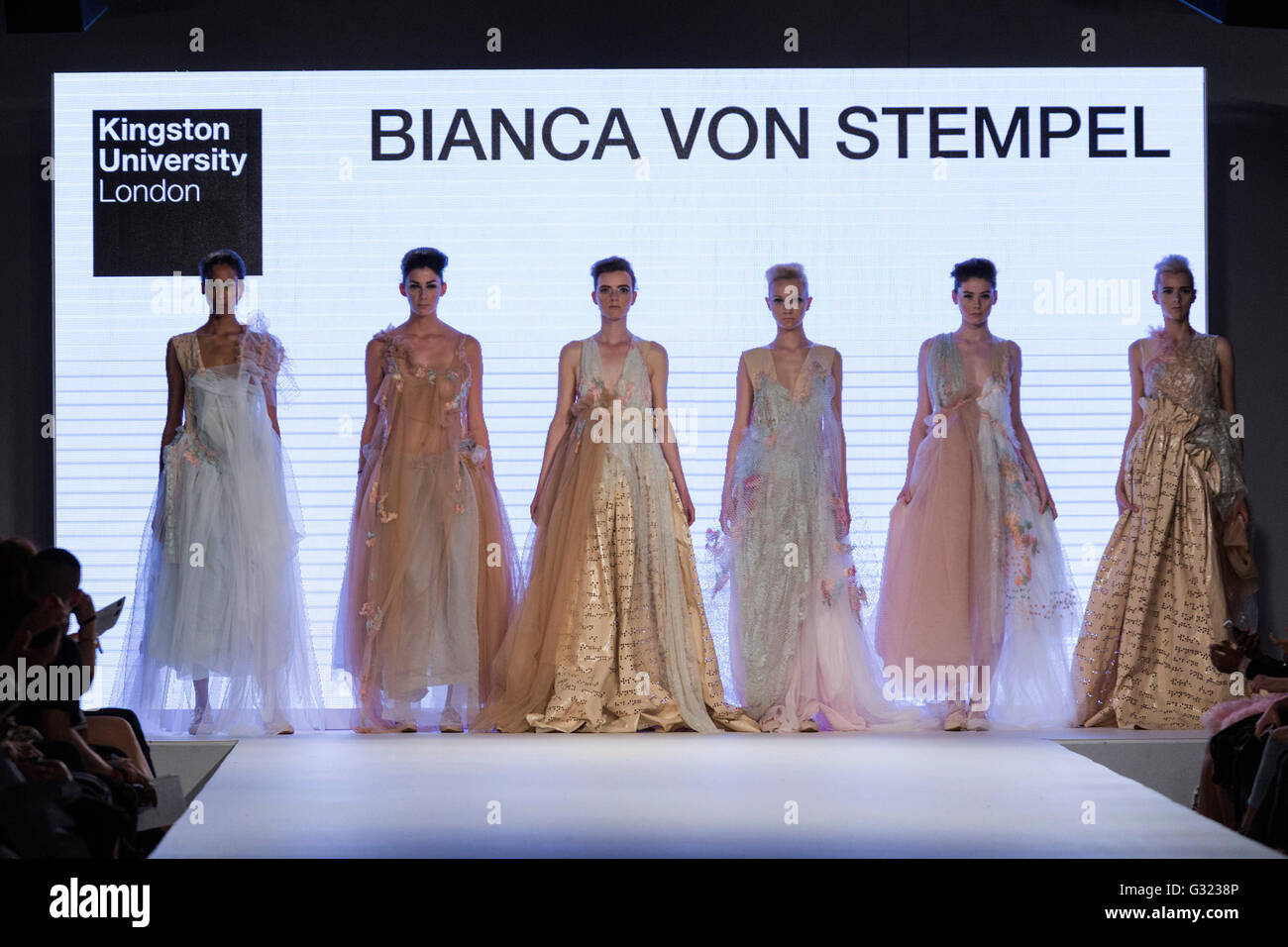London, UK. 6 June 2016. A model walks the runway showcasing the fashion collection by Bianca Von Stempel from Kingston - Stock Image
