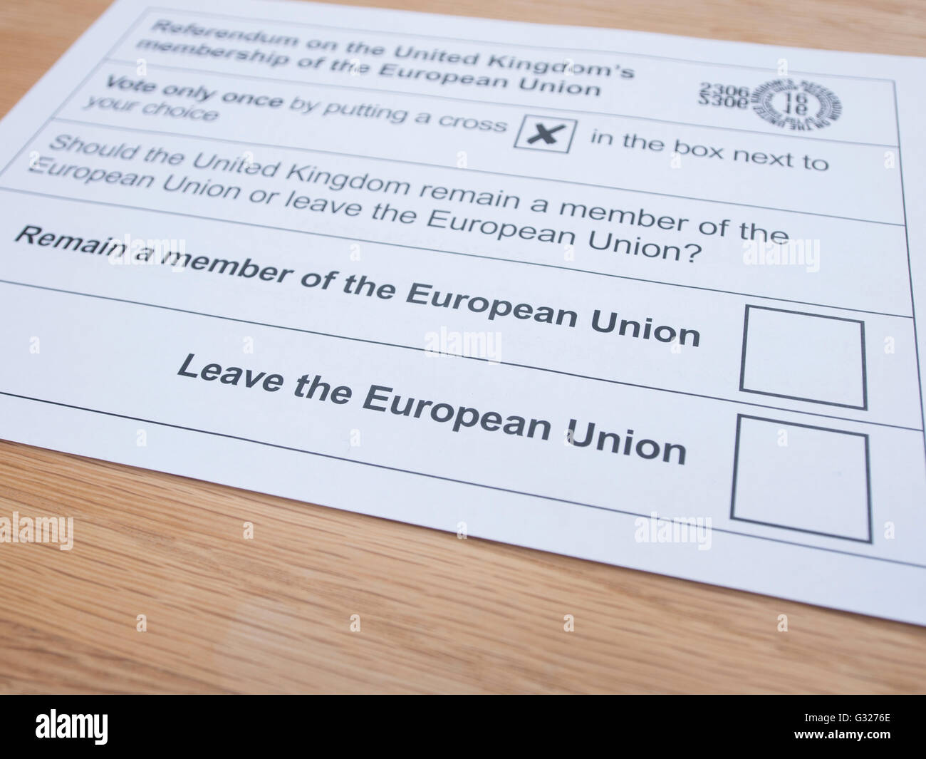 Exeter UK 7 June 2016 EU referendum voting by postal ballot - Stock Image
