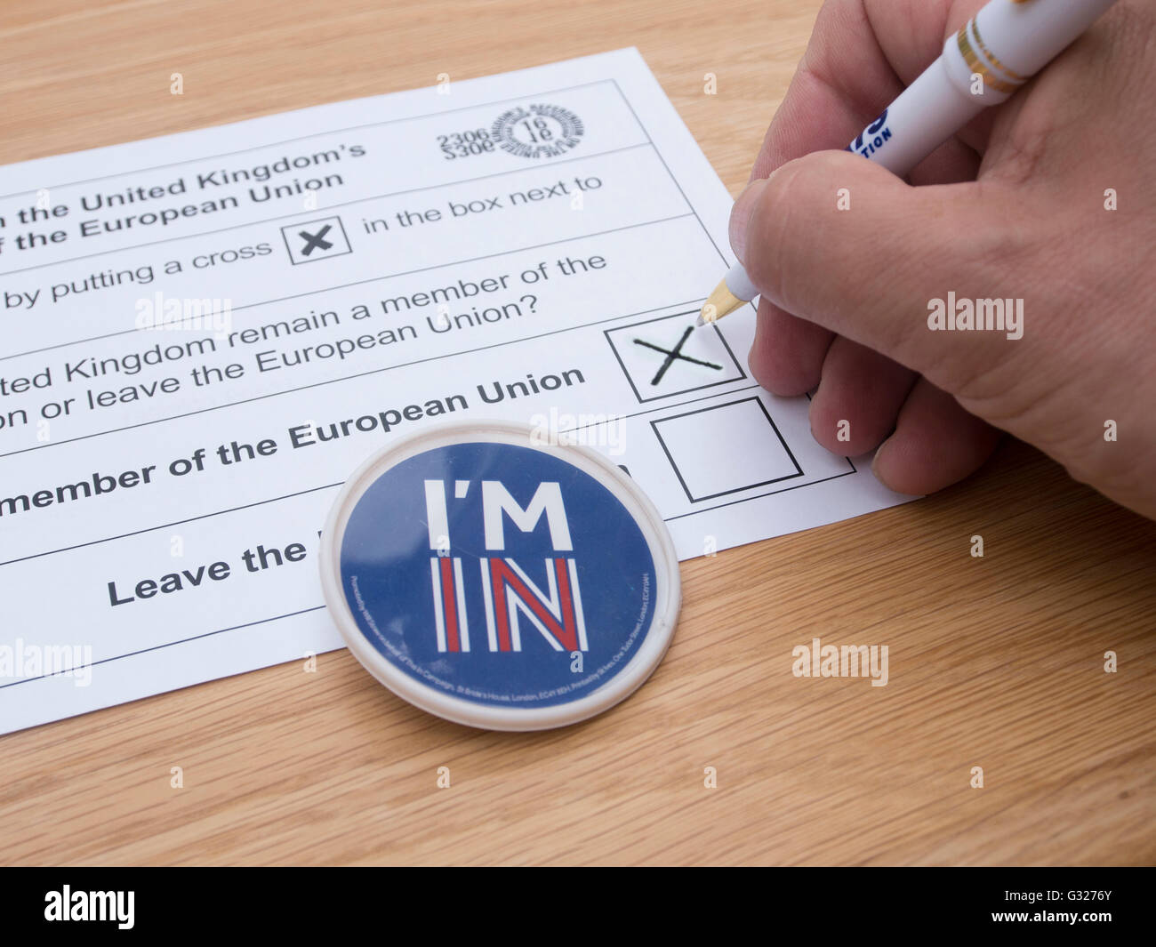 Exeter UK 7 June 2016 EU referendum voting by postal ballot with I'm in badge - Stock Image