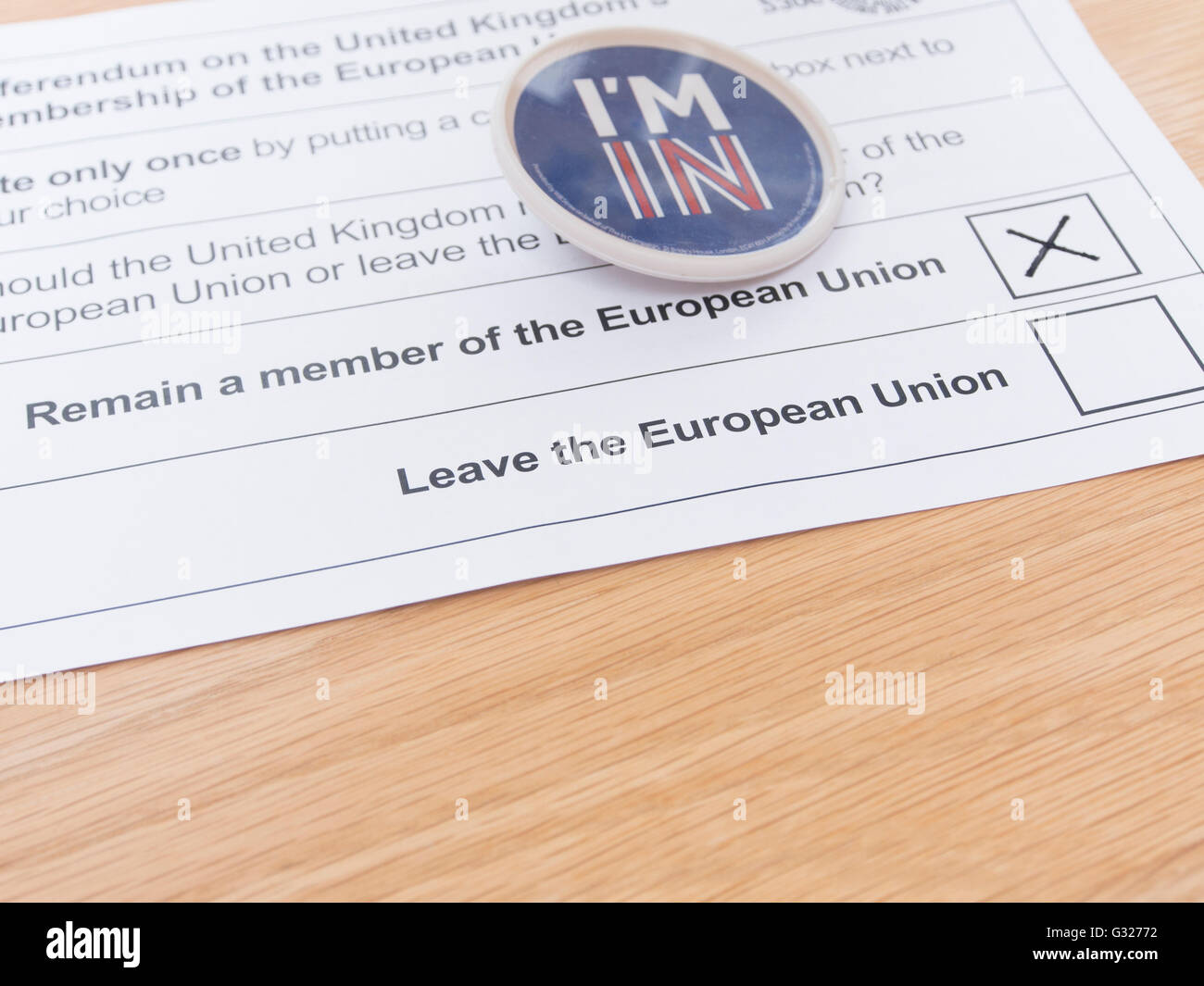 Exeter UK 7 June 2016 EU referendum voting by postal ballot I'm In badge remain a member of the European Union - Stock Image