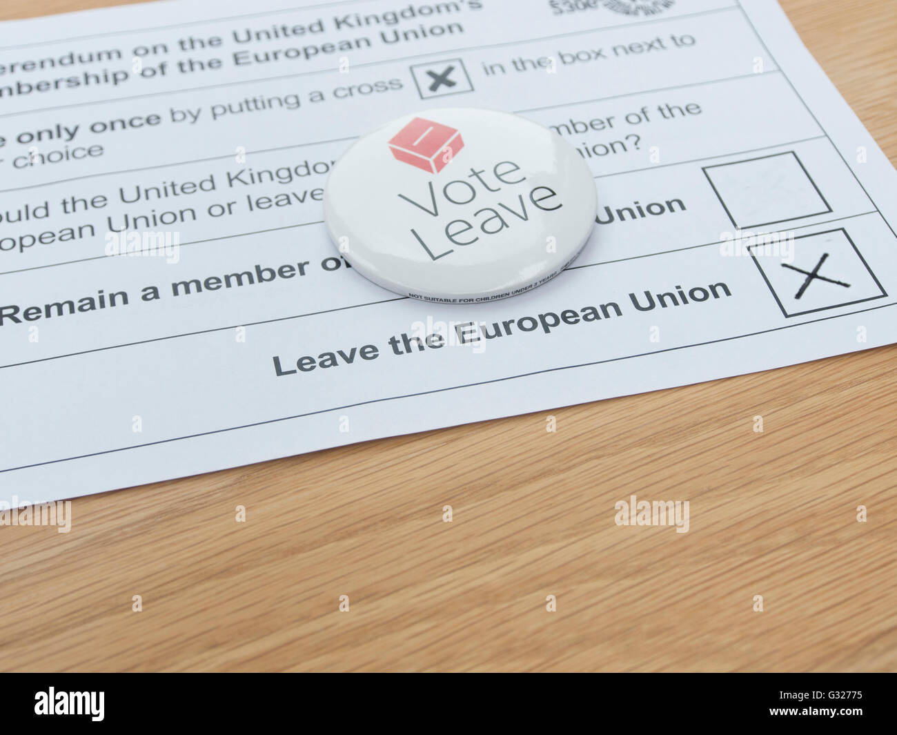 Exeter UK 7 June 2016 EU referendum voting by postal ballot vote leave badge leave the European union - Stock Image