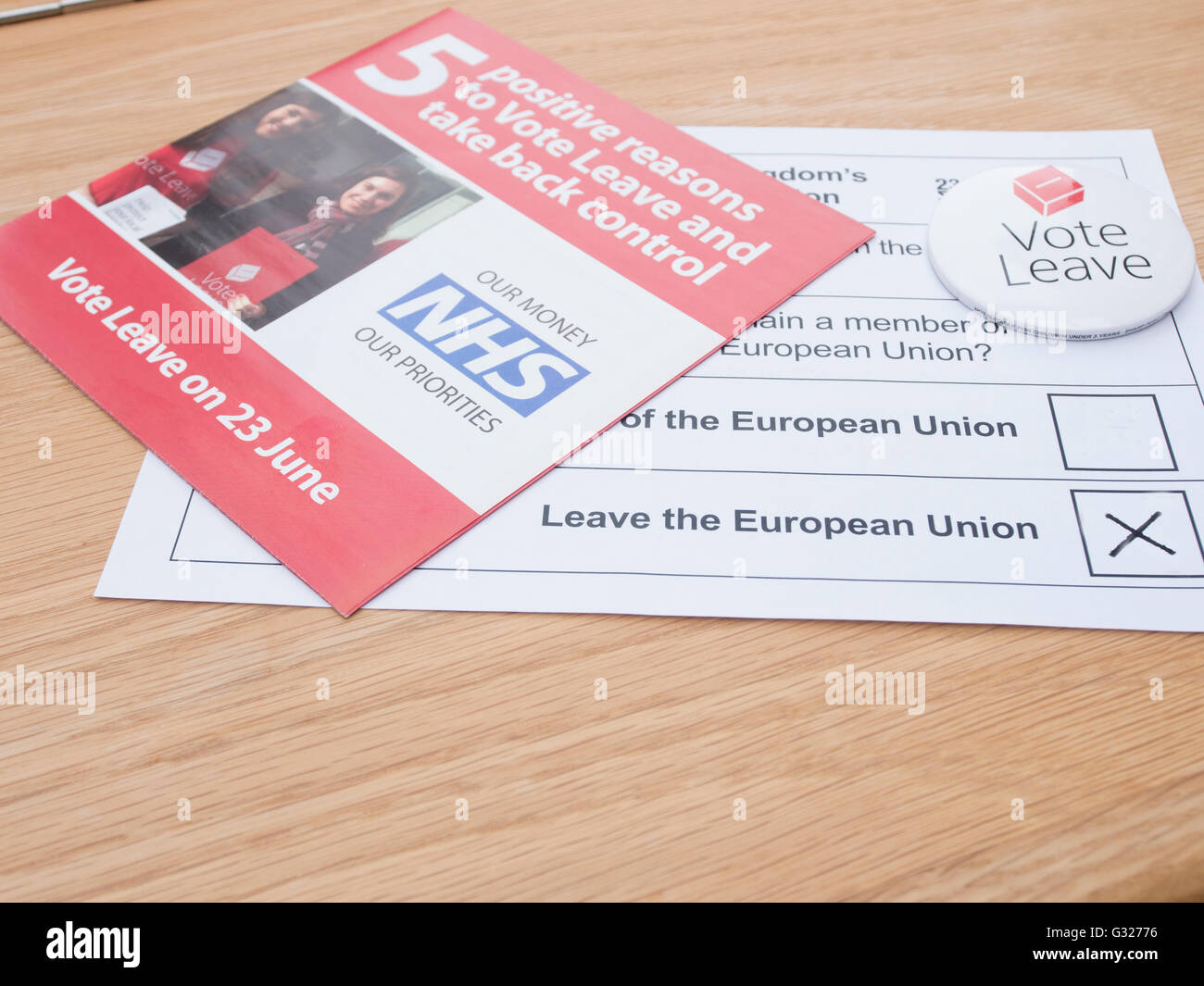 Exeter UK 7 June 2016 EU referendum voting by postal ballot  badge vote leave, campaign leaflet - Stock Image