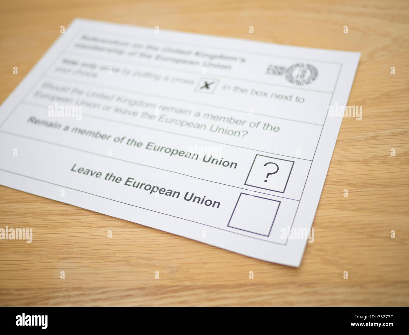Exeter UK 7 June 2016 EU referendum voting by postal ballot floating voter undecided question mark unanswered question. - Stock Image