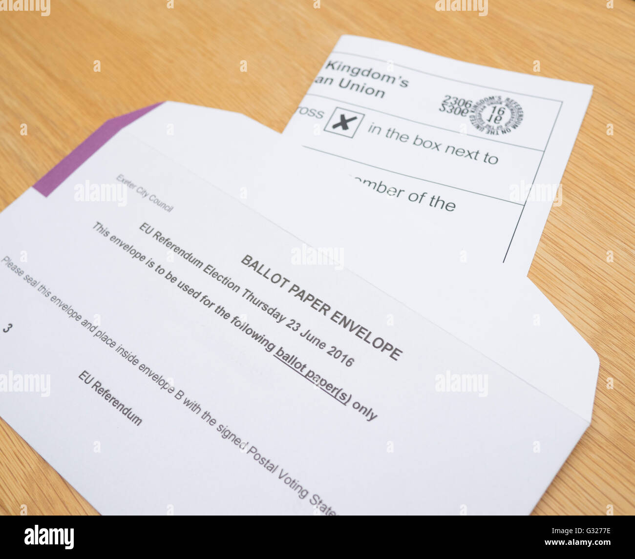 Exeter UK 7 June 2016 EU referendum voting by postal ballot in voting envelope - Stock Image