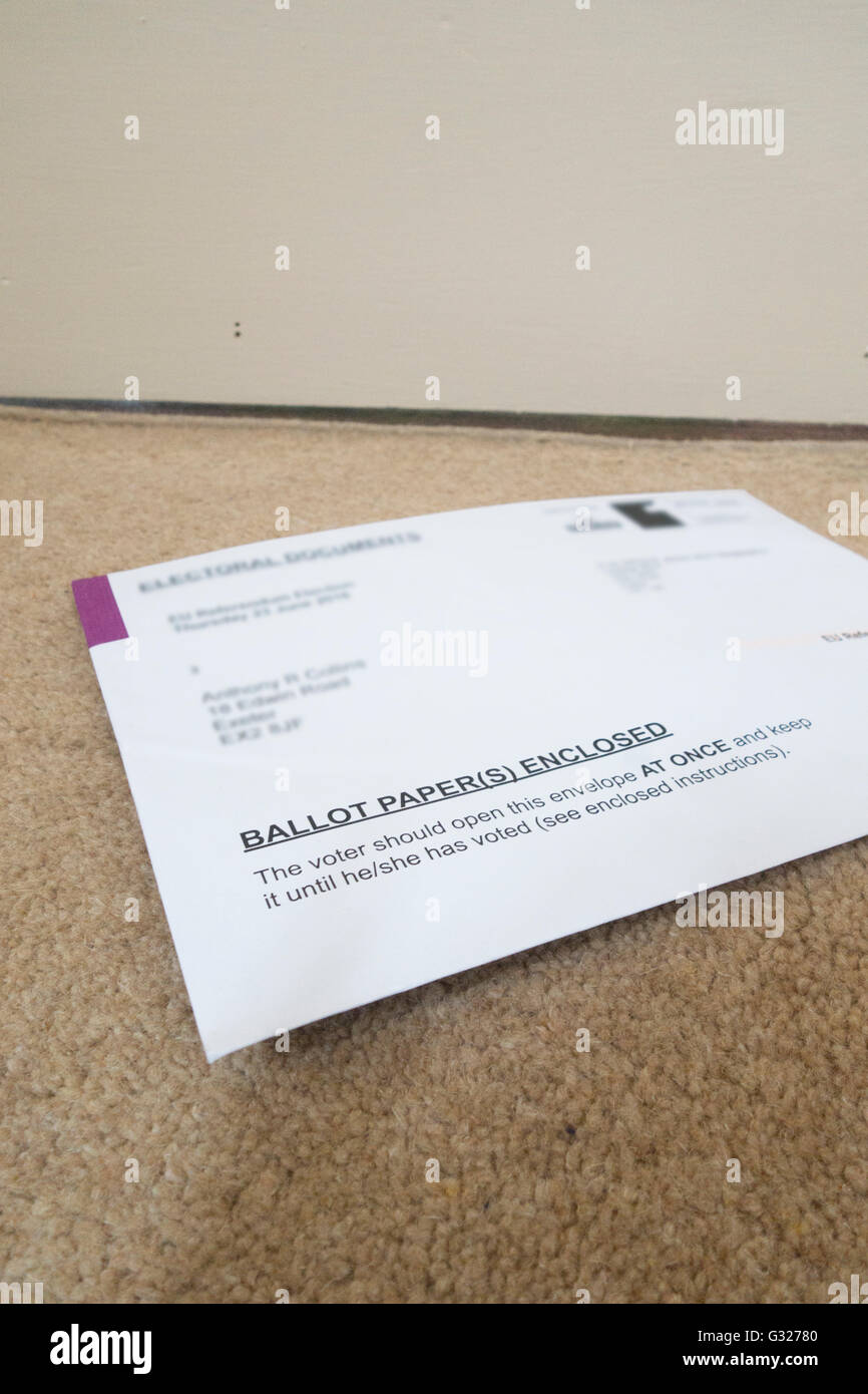 Exeter UK 7 June 2016 EU referendum voting by postal ballot papers arrive on the doormat Last day to apply for postal - Stock Image
