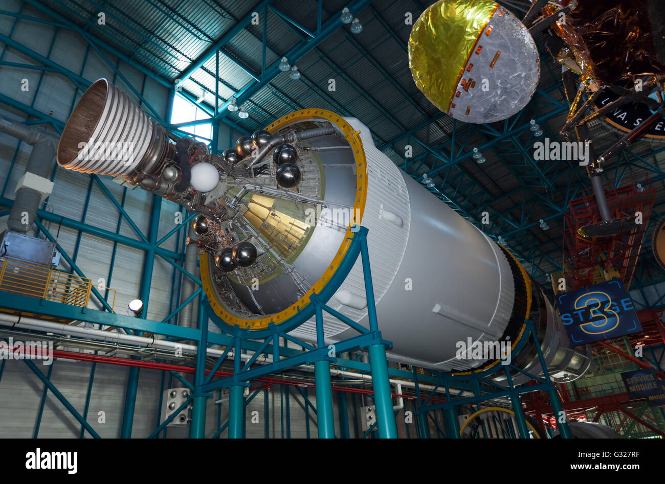 A view of the third stage of the Saturn V rocket, used by NASA, during the Apollo program to take Astronauts to - Stock Image