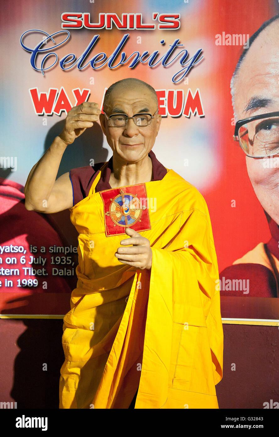 The image of Dalai Lama wax statue in Lonavala wax Museum, India - Stock Image