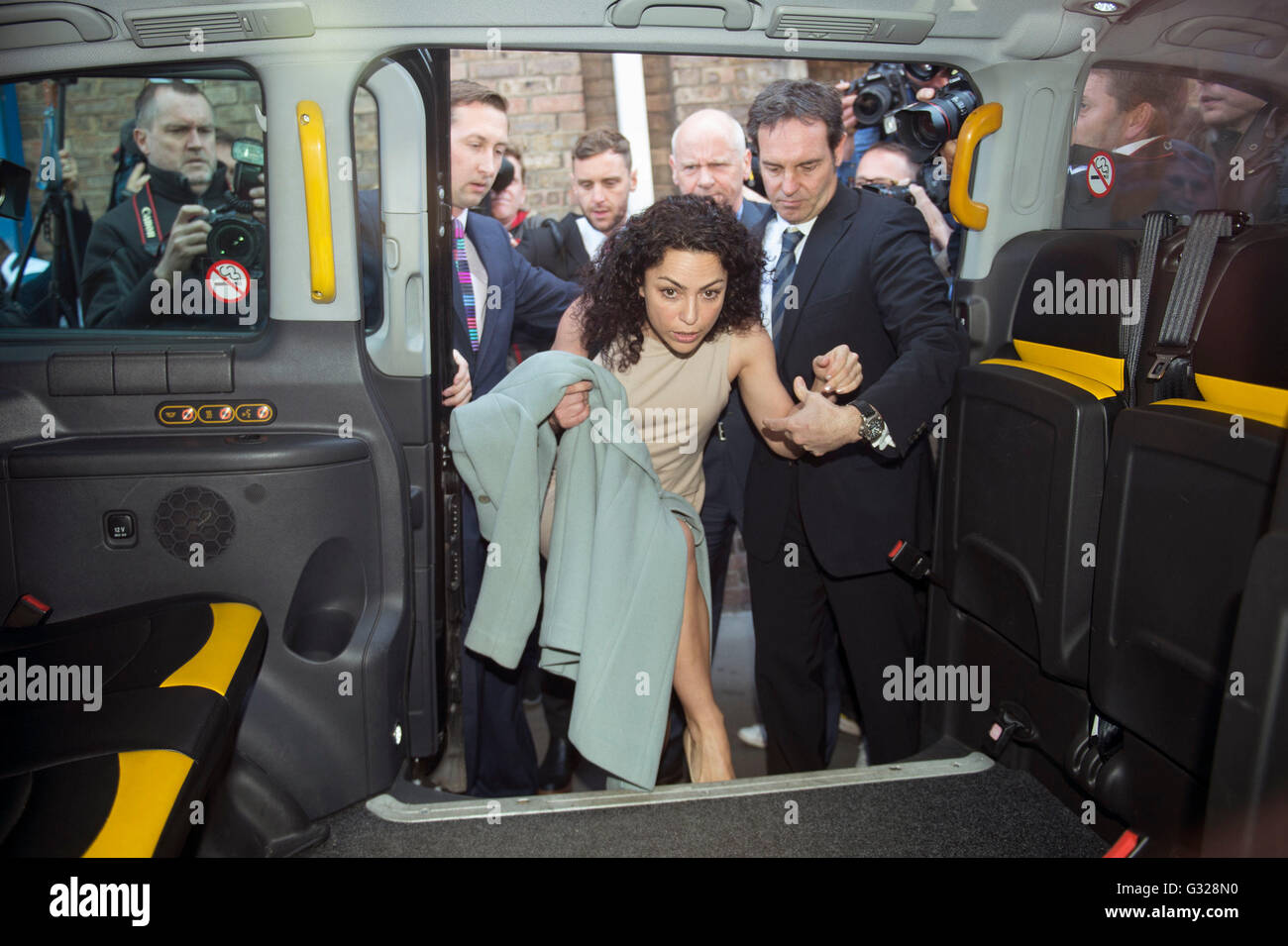 Former Chelsea FC team doctor Eva Carneiro and her husband Jason De  Carteret get into a taxi outside Croydon Employment Tribunal as Jose  Mourinho is ...