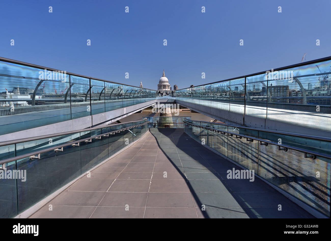 St Paul's Cathedral, London seen from Millennium Bridge - Stock Image