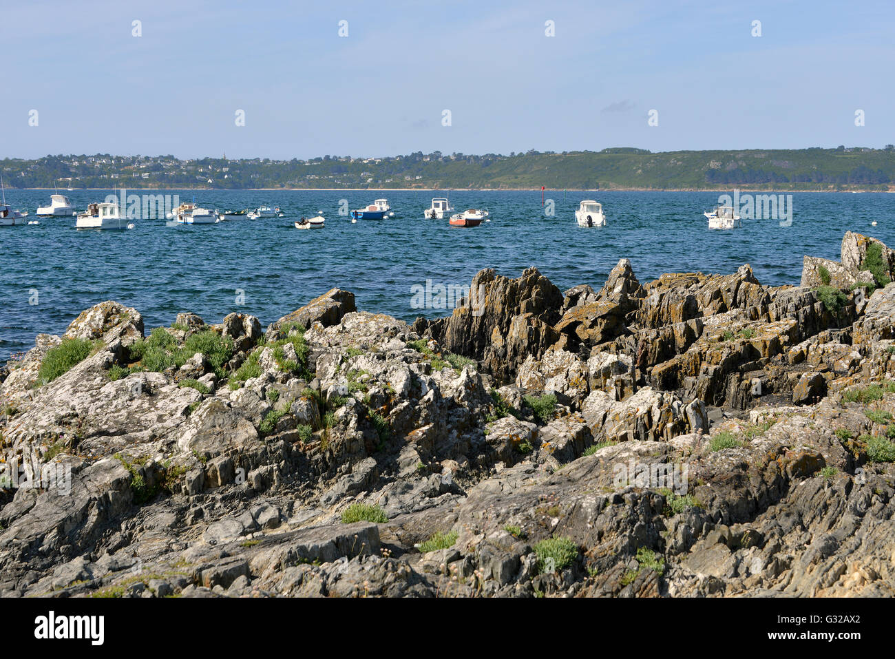Coastline and marina of Trédrez-Locquémeau, commune in the Côtes-d'Armor department of Brittany in northwestern France Stock Photo