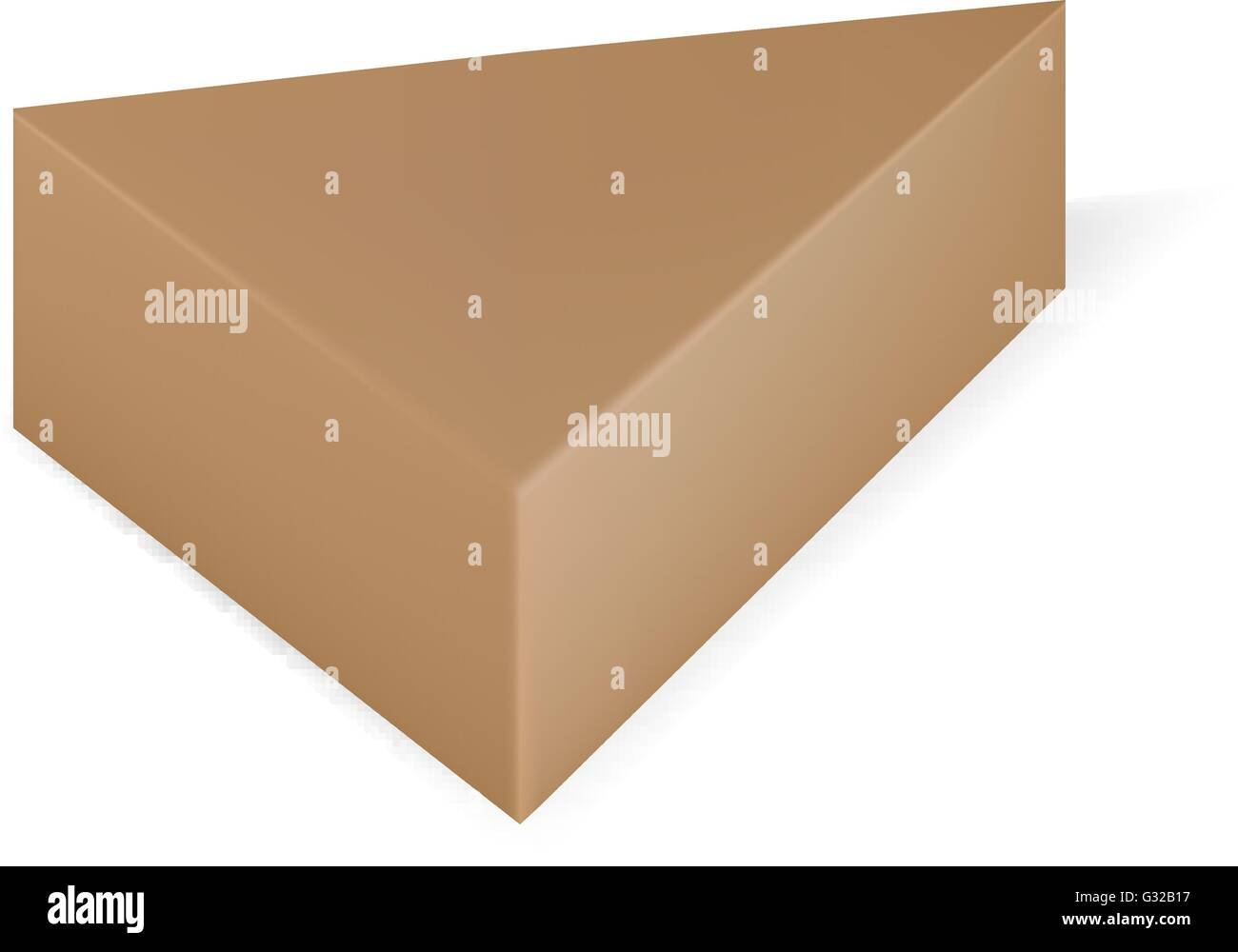 vector packaging brown triangle packaging box on isolated white