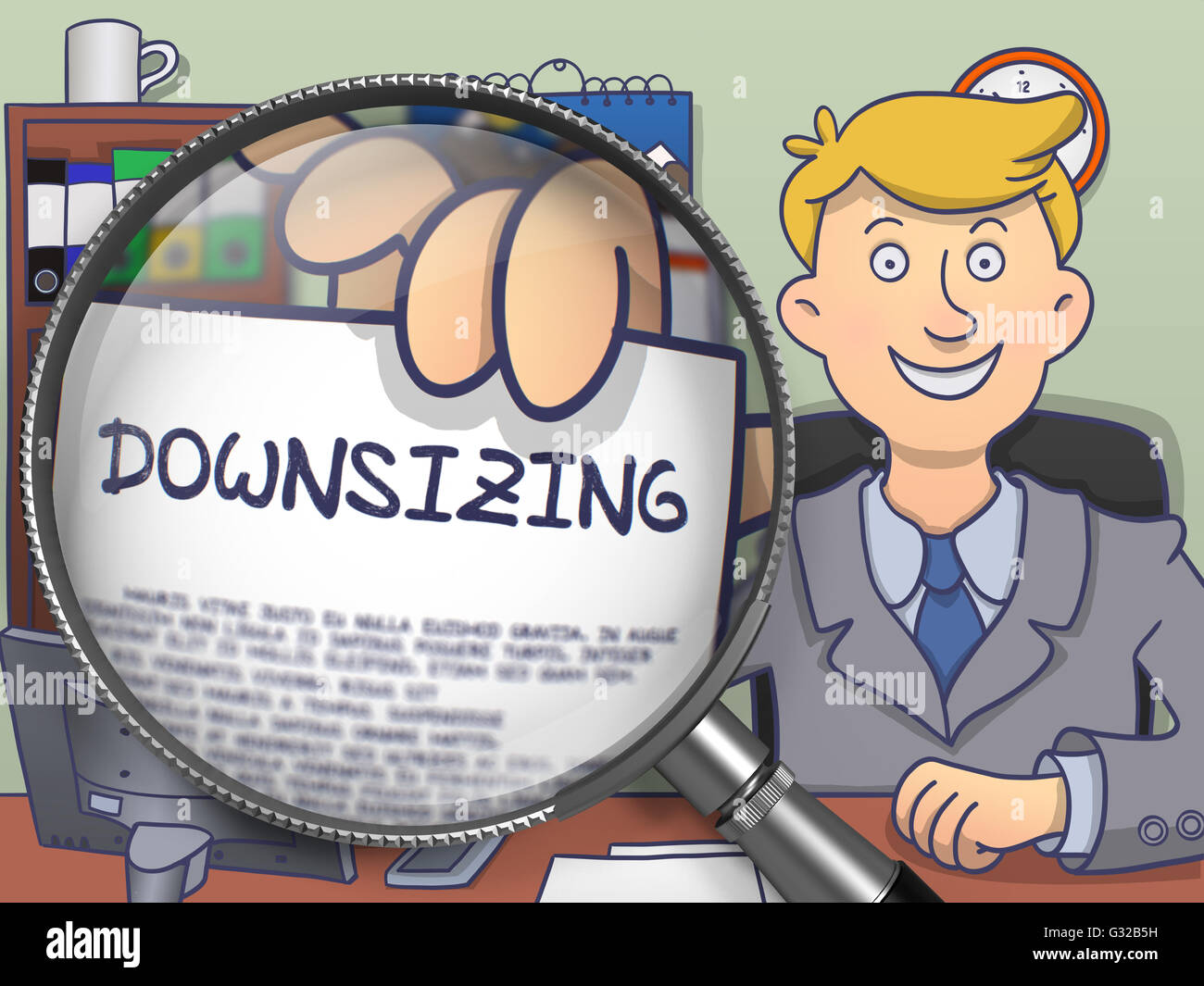 Downsizing through Lens. Doodle Concept. - Stock Image