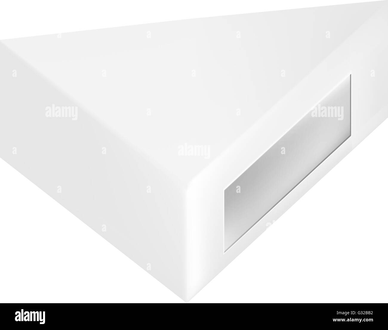 vector packaging white gray triangle packaging box with window on