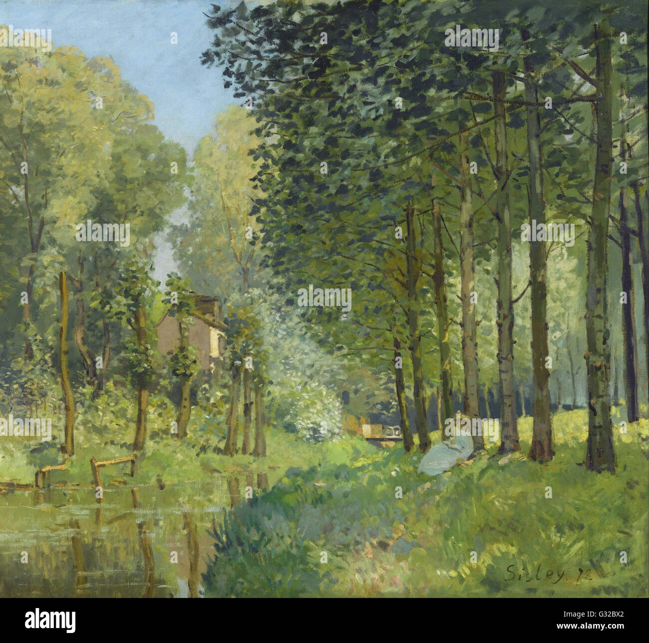 Alfred Sisley - Rest along the Stream. Edge of the Wood   - Musée d'Orsay, Paris - Stock Image