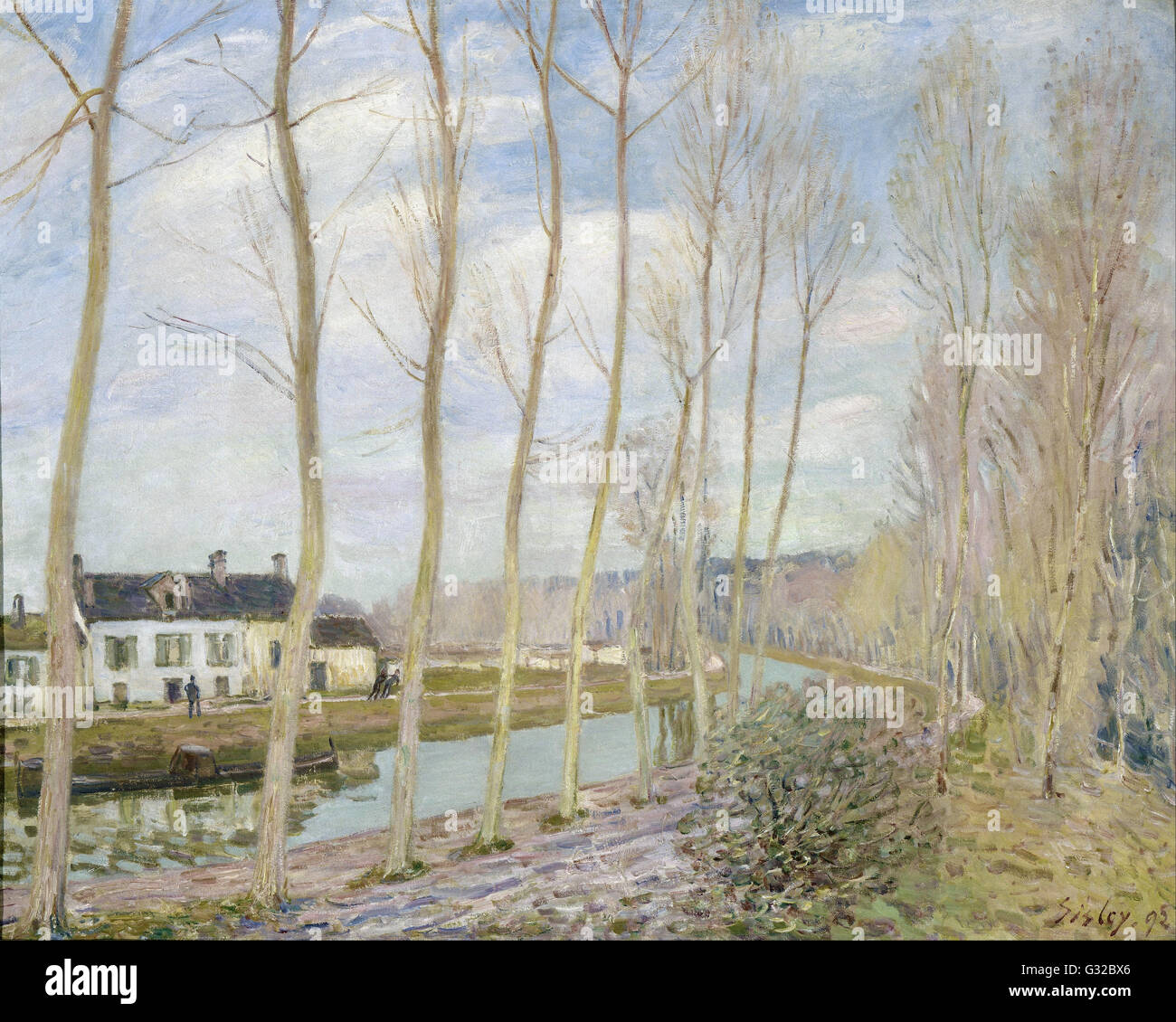 Alfred Sisley - The Loing's Canal   - Musée d'Orsay, Paris - Stock Image