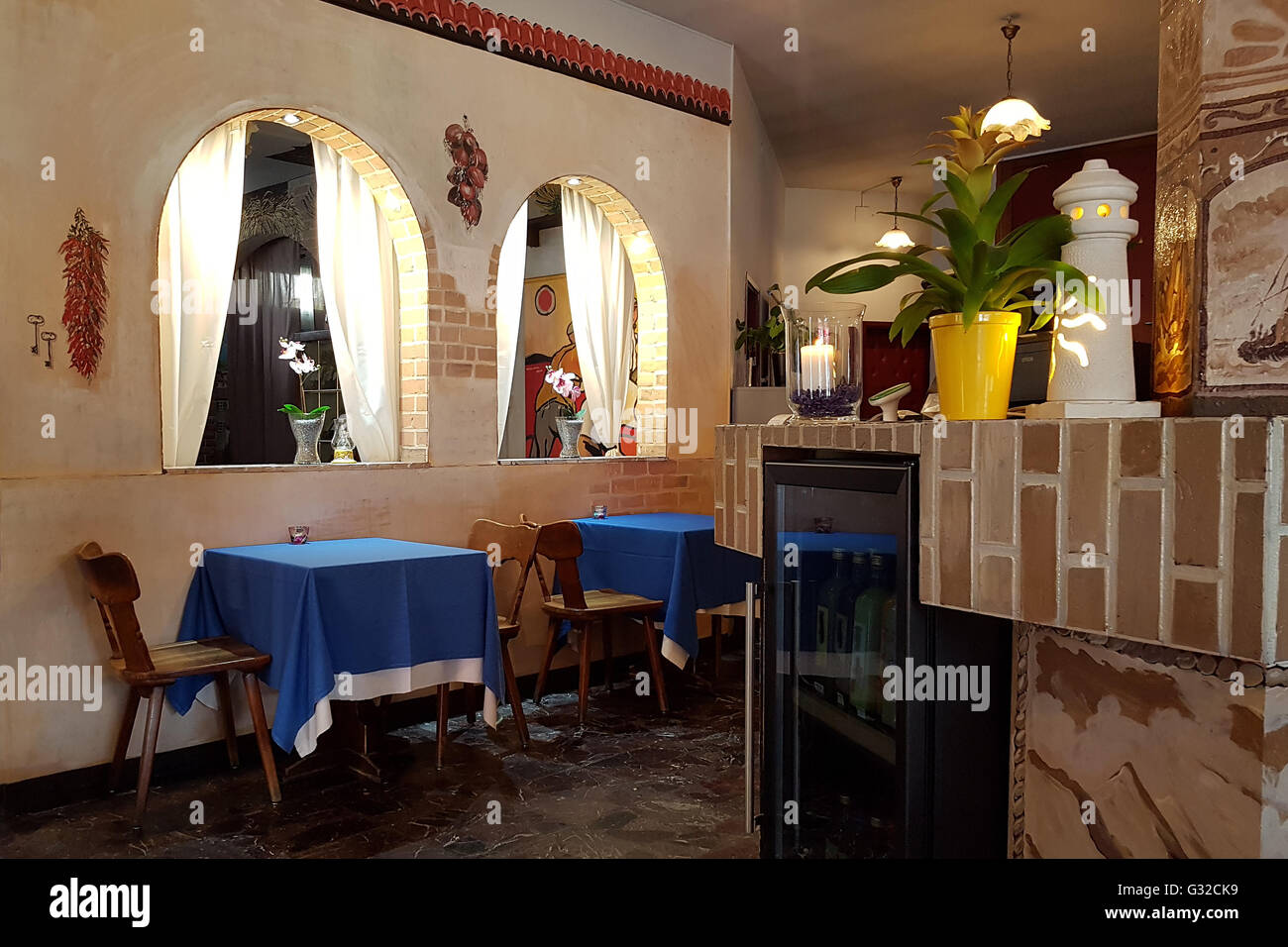 Italian restaurant interior stock photos