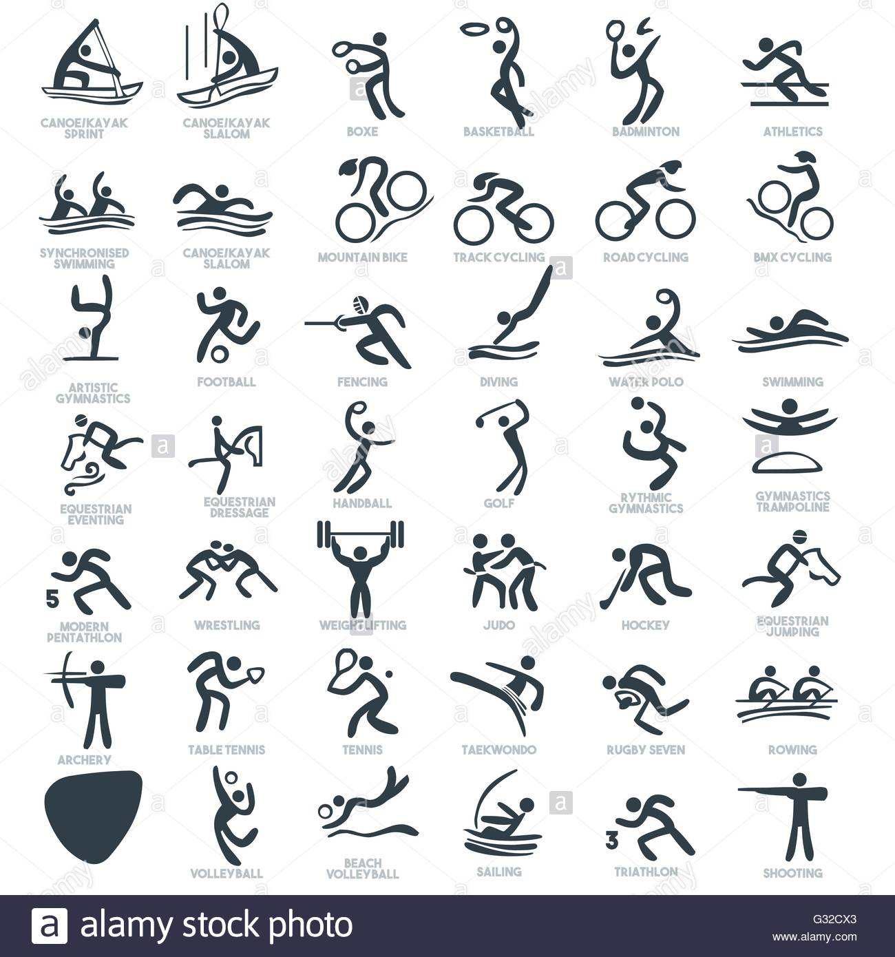 olympics summer games sport icon pictograms flat concept design set rh alamy com Sticks Figures Animals Clips Arts PowerPoint Stick Figure Animation