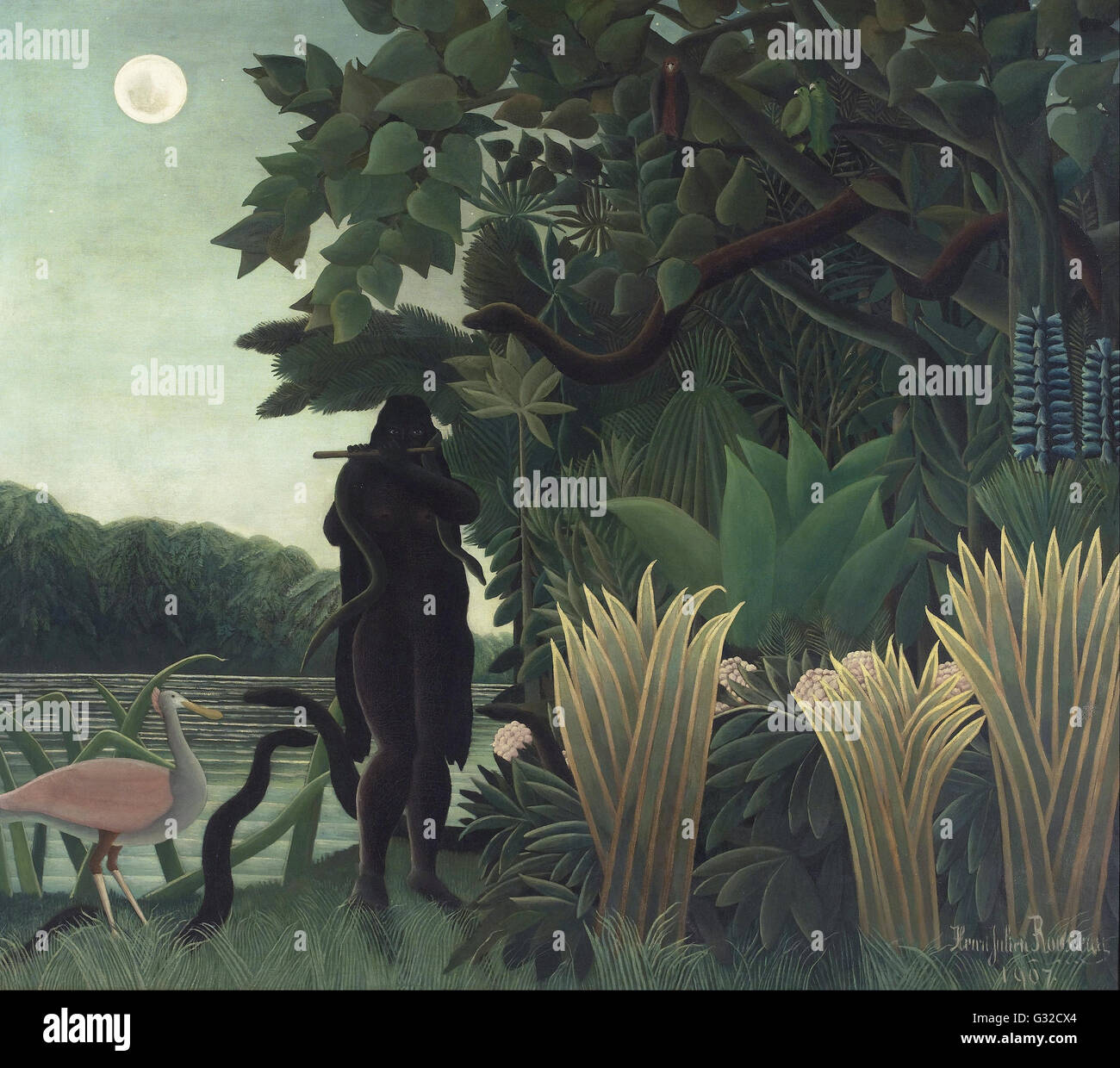 Henri Rousseau, known as le Douanier - The Snake Charmer   - Musée d'Orsay, Paris - Stock Image